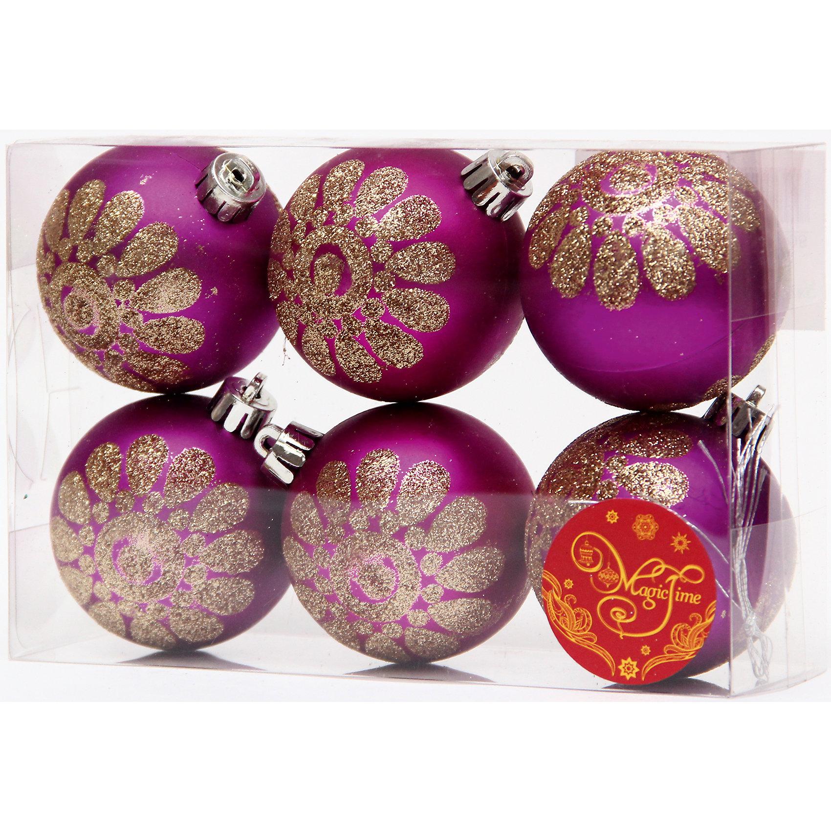 Набор шаров Пурпурный с золотым цветком 6 штВсё для праздника<br>Набор шаров Пурпурный с золотым цветком 6 шт – этот набор принесет в ваш дом ни с чем несравнимое ощущение праздника!<br>Набор новогодних подвесных украшений Пурпурный с золотым цветком прекрасно подойдет для праздничного декора вашей ели. Набор состоит из 6 матовых шаров пурпурного цвета, изготовленных из полистирола. Каждый шар украшен блестящим золотым цветком. Для удобного размещения на елке для каждого шара предусмотрена петелька. Елочная игрушка - символ Нового года. Она несет в себе волшебство и красоту праздника. Создайте в своем доме атмосферу веселья и радости, украшая новогоднюю елку нарядными игрушками, которые будут из года в год накапливать теплоту воспоминаний. Откройте для себя удивительный мир сказок и грез. Почувствуйте волшебные минуты ожидания праздника, создайте новогоднее настроение вашим близким.<br><br>Дополнительная информация:<br><br>- В наборе: 6 шаров<br>- Материал: полистирол<br>- Цвет: пурпурный, золотой<br>- Размер упаковки: 8 х 12 х 6 см.<br><br>Набор шаров Пурпурный с золотым цветком 6 шт можно купить в нашем интернет-магазине.<br><br>Ширина мм: 300<br>Глубина мм: 250<br>Высота мм: 100<br>Вес г: 550<br>Возраст от месяцев: 36<br>Возраст до месяцев: 2147483647<br>Пол: Унисекс<br>Возраст: Детский<br>SKU: 4981553
