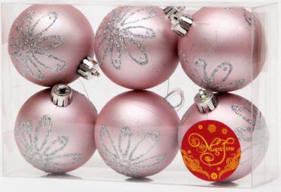 Magic Time Набор шаров Розовый с серебряной ромашкой 6 шт