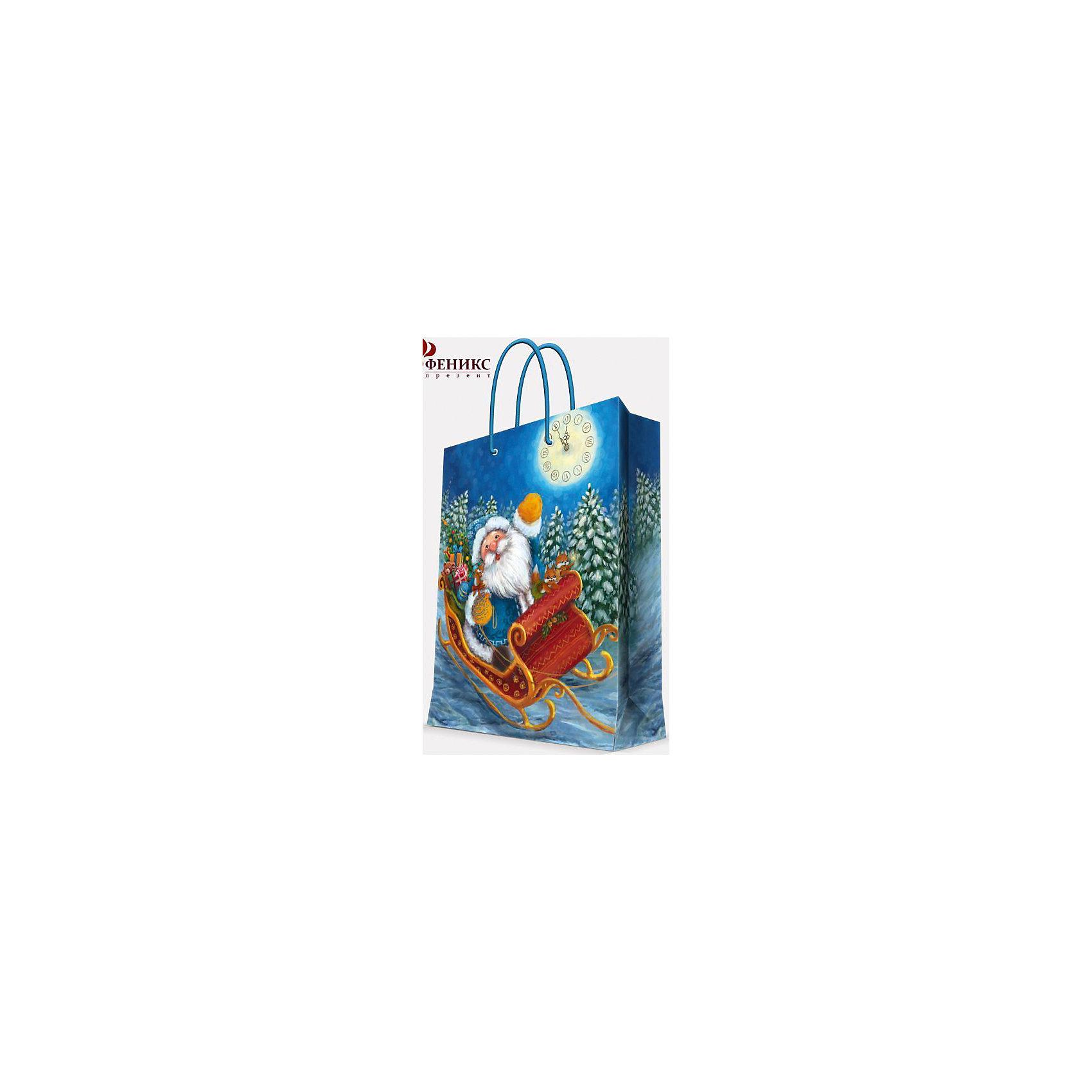 Magic Time Подарочный пакет Дед Мороз в санях 17,8*22,9*9,8 см magic time подарочный пакет новогодняя лампа 26 32 4 12 7 см