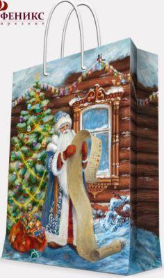 Magic Time Подарочный пакет Дед Мороз со списком 17,8*22,9*9,8 см
