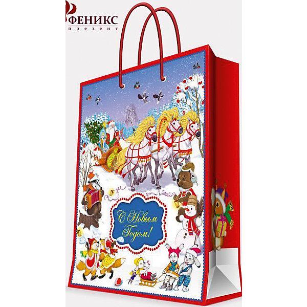 Подарочный пакет Новогодний праздник 26*32,4*12,7 смНовогодние пакеты<br>Приближение Нового года не может не радовать! Праздничное настроение создает украшенный дом, наряженная ёлка, запах мандаринов, предновогодняя суета и, конечно же, подарки! Чтобы сделать момент вручения приятнее, нужен красивый подарочный пакет.<br>Этот пакет украшен симпатичным универсальным рисунком, поэтому в него можно упаковать подарок и родственнику, и коллеге. Он сделан из безопасного для детей, прочного, но легкого, материала. Создайте с ним праздничное настроение себе и близким!<br><br>Дополнительная информация:<br><br>плотность бумаги: 140 г/м2;<br>размер: 26 х 32 х 13 см;<br>с ламинацией;<br>украшен рисунком.<br><br>Подарочный пакет Новогодний праздник 26*32,4*12,7 см можно купить в нашем магазине.<br><br>Ширина мм: 260<br>Глубина мм: 234<br>Высота мм: 127<br>Вес г: 74<br>Возраст от месяцев: 36<br>Возраст до месяцев: 2147483647<br>Пол: Унисекс<br>Возраст: Детский<br>SKU: 4981576