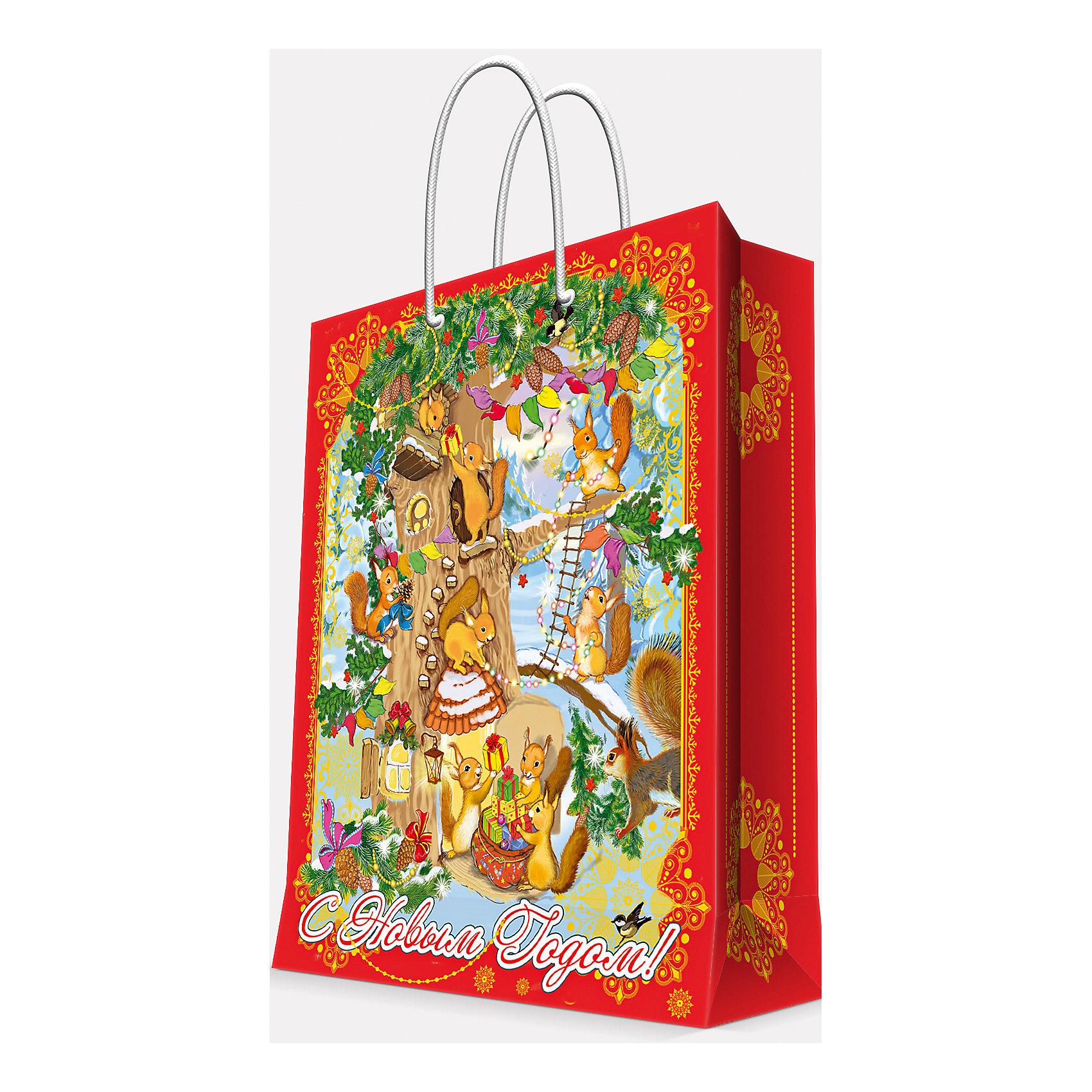 Magic Time Подарочный пакет Белочки 17,8*22,9*9,8 см magic time подарочный пакет новогодняя лампа 26 32 4 12 7 см