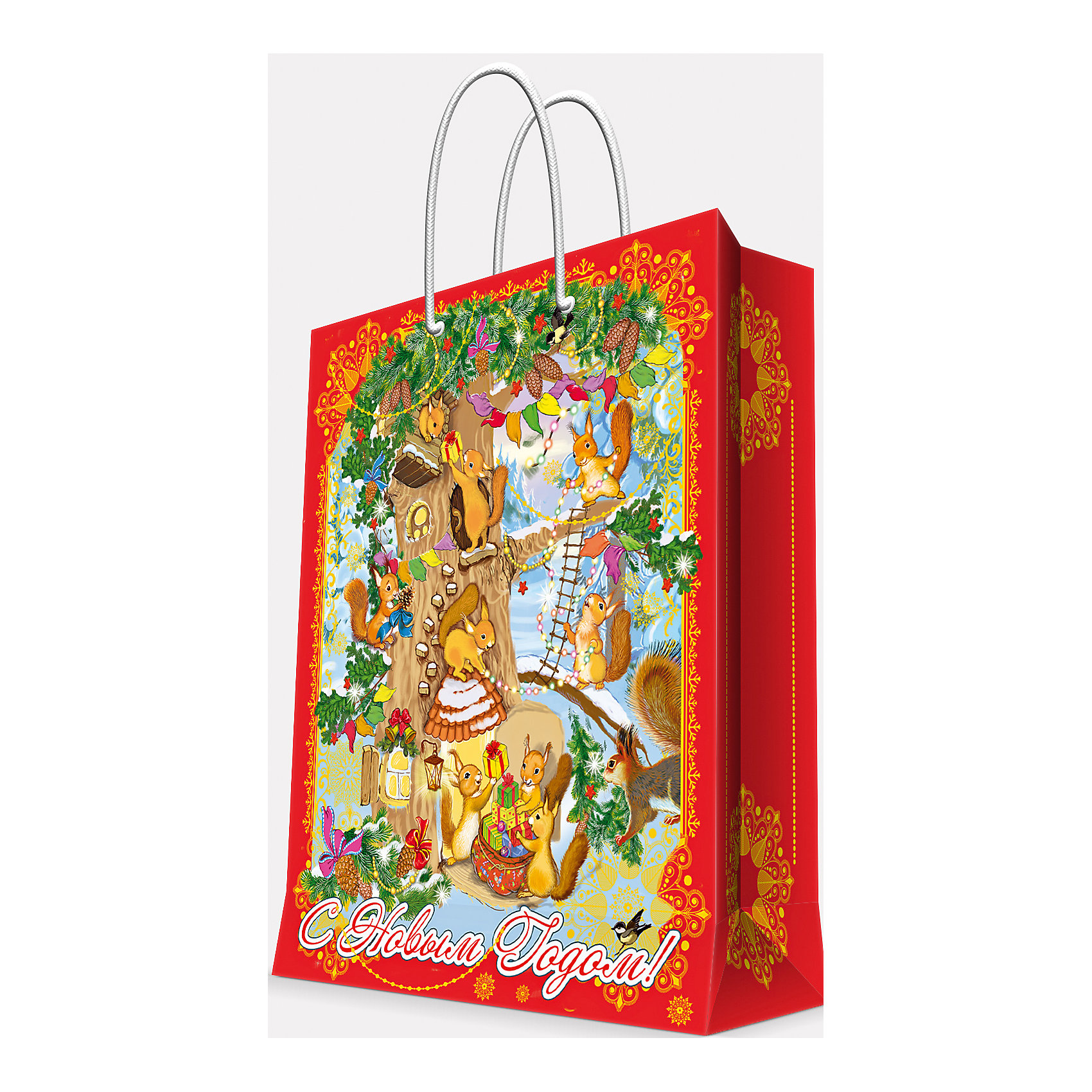 Подарочный пакет Белочки 33*45,7*10,2 смПредновогодние хлопоты многие любят даже больше самого праздника! Праздничное настроение создает украшенный дом, наряженная ёлка, запах мандаринов, предновогодняя суета и, конечно же, подарки! Чтобы сделать момент вручения приятнее, нужен красивый подарочный пакет.<br>Этот пакет украшен симпатичным универсальным рисунком, поэтому в него можно упаковать подарок и родственнику, и коллеге. Он сделан из безопасного для детей, прочного, но легкого, материала. Создайте с ним праздничное настроение себе и близким!<br><br>Дополнительная информация:<br><br>плотность бумаги: 140 г/м2;<br>размер: 33 х 46 х 10 см;<br>с ламинацией;<br>украшен рисунком.<br><br>Подарочный пакет Белочки 33*45,7*10,2 см можно купить в нашем магазине.<br><br>Ширина мм: 330<br>Глубина мм: 457<br>Высота мм: 102<br>Вес г: 87<br>Возраст от месяцев: 36<br>Возраст до месяцев: 2147483647<br>Пол: Унисекс<br>Возраст: Детский<br>SKU: 4981583