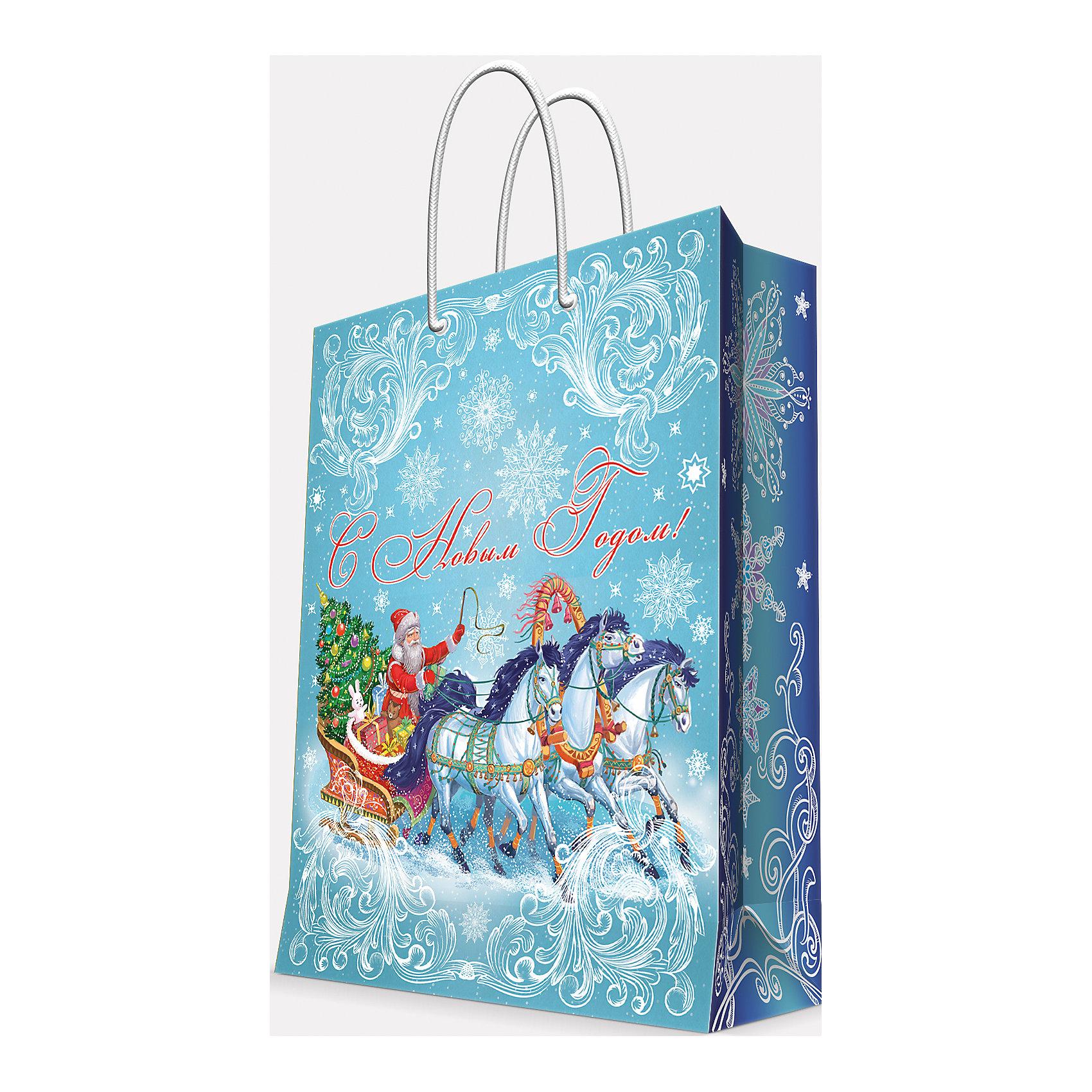 Magic Time Подарочный пакет Дед Мороз на тройке 40,6*48,9*19 см magic time подарочный пакет новогодняя лампа 26 32 4 12 7 см