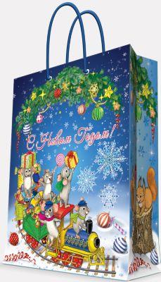 Magic Time Подарочный пакет Новогодний паровозик и мышата 17,8*22,9*9,8 см