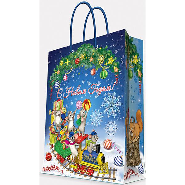 Подарочный пакет Новогодний паровозик и мышата 17,8*22,9*9,8 см
