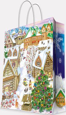 Magic Time Подарочный пакет Снежный город 17,8*22,9*9,8 см