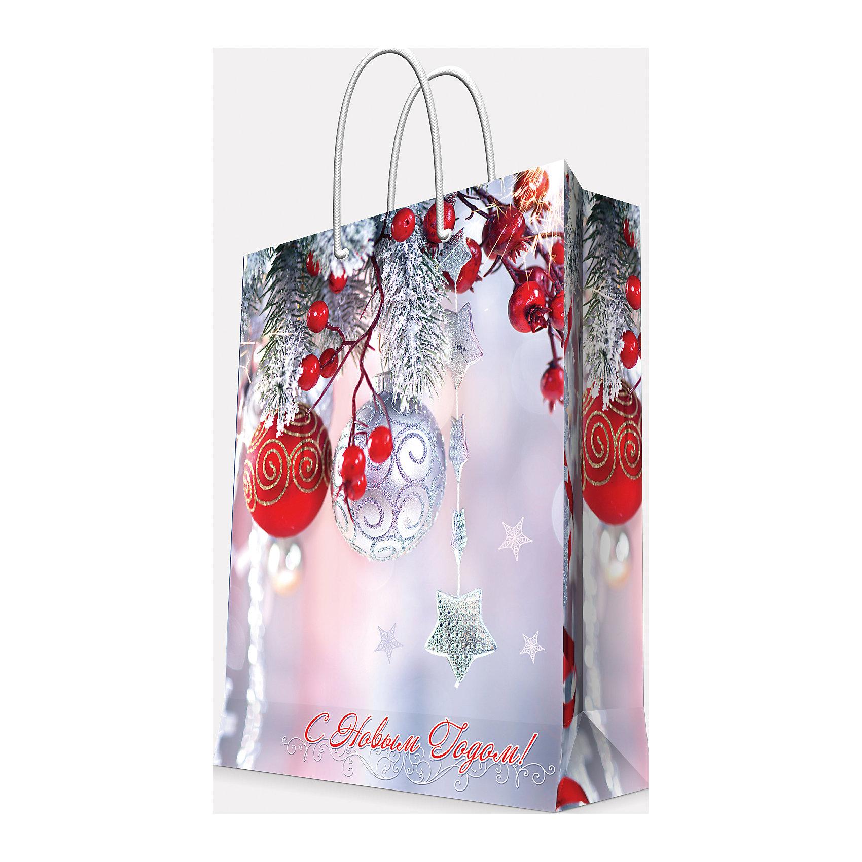 Magic Time Подарочный пакет Шарики и звездочка 17,8*22,9*9,8 см magic time подарочный пакет новогодняя лампа 26 32 4 12 7 см