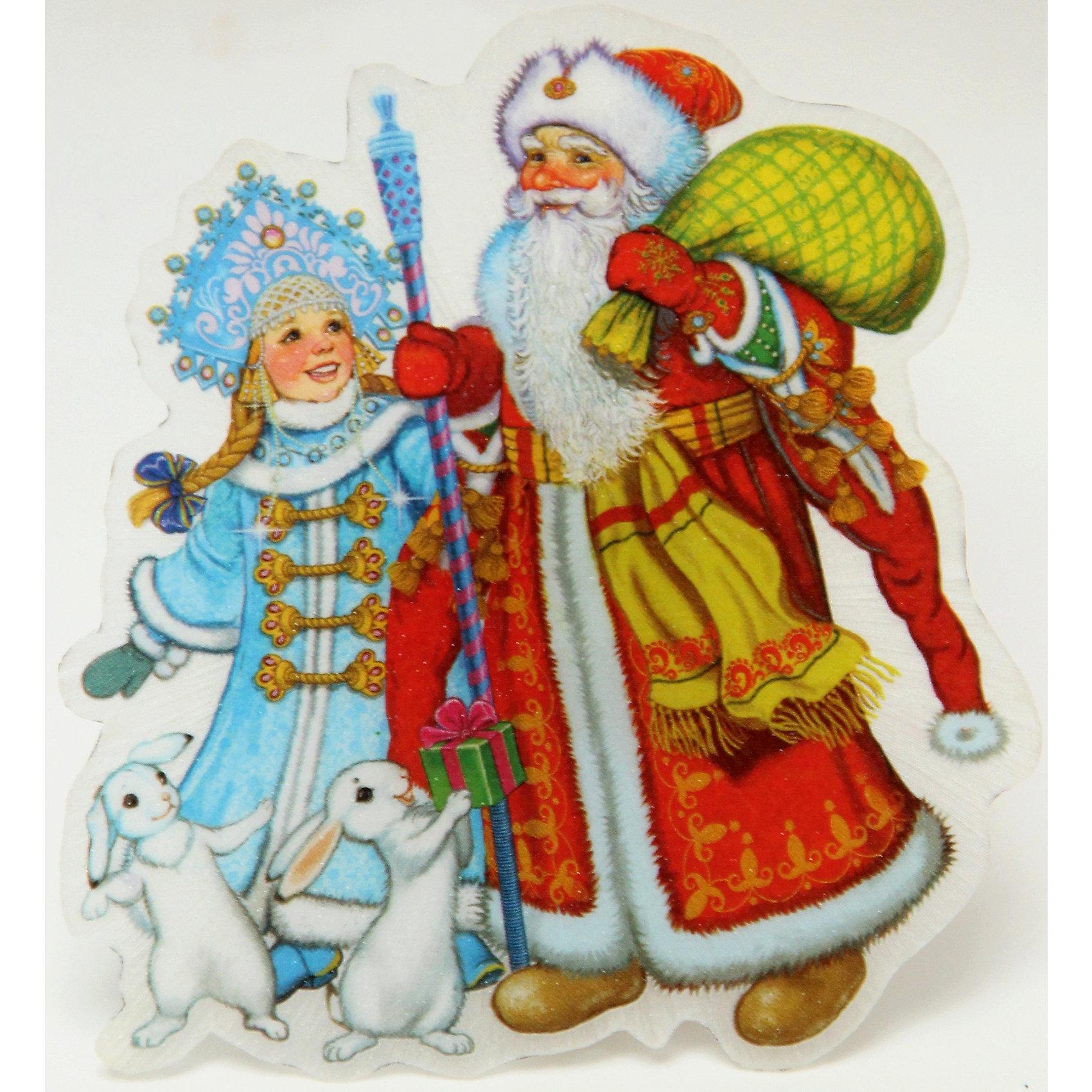 Украшение Дед Мороз, Снегурочка и зайчики со светодиодной подсветкойВсё для праздника<br>Приближение Нового года не может не радовать! Особое время - сам праздник и предновогодние хлопоты - ждут не только дети, но и взрослые! Праздничное настроение создает в первую очередь украшенный дом и наряженная ёлка. <br>Эта фигурка идет в комплекте с элементом питания, который помогает создавать для неё праздничную подсветку. Изделие произведено из безопасного для детей, прочного, но легкого, материала. Создайте с ним праздничное настроение себе и близким!<br><br>Дополнительная информация:<br><br>цвет: разноцветный;<br>материал: ПВХ;<br>элемент питания: CR2032;<br>мощность 0,06 Вт, напряжение 3 В;<br>размер: 11 x 10 x 3 см.<br><br>Украшение Дед Мороз, Снегурочка и зайчики со светодиодной подсветкой можно купить в нашем магазине.<br><br>Ширина мм: 100<br>Глубина мм: 100<br>Высота мм: 60<br>Вес г: 28<br>Возраст от месяцев: 36<br>Возраст до месяцев: 2147483647<br>Пол: Унисекс<br>Возраст: Детский<br>SKU: 4981629