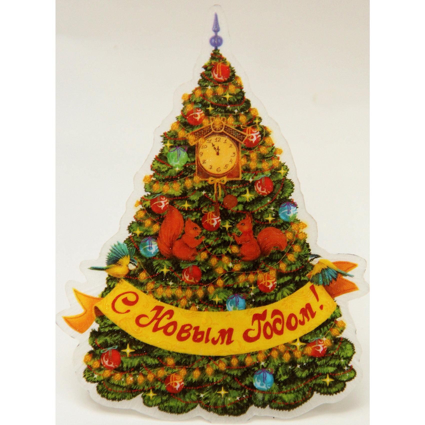 Magic Time Украшение Новогодняя елка в золотых узорах со светодиодной подсветкой украшение новогоднее magic time дед мороз и медвежонок со светодиодной подсветкой 12 x 8 x 3 см
