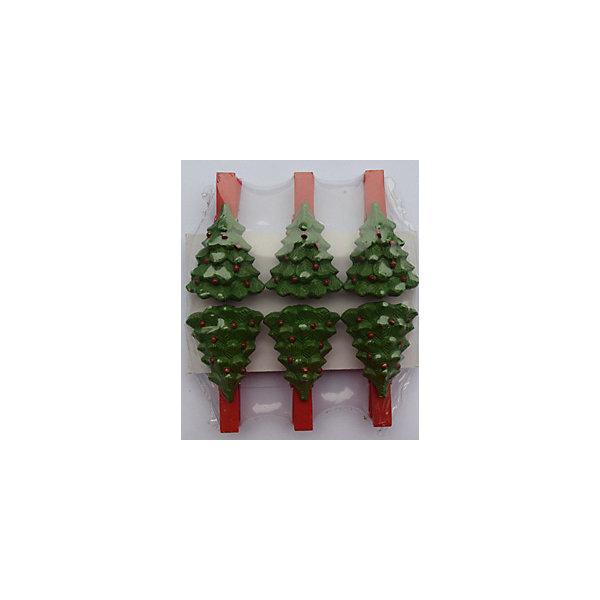 Набор прищепок Зеленые елочки 6 штНовогодние сувениры<br>Приближение Нового года не может не радовать! Праздничное настроение создает в первую очередь украшенный дом и, особенно, наряженная ёлка. Будь она из леса или искусственная - такие подвесные игрушки украсят любую!<br>Они сделаны из безопасного для детей, прочного, но легкого, материала, поэтому не разобьются, упав на пол. На украшениях есть прищепка, чтобы их можно было крепить на ёлку. Благодаря расцветке украшение отлично смотрится на ёлке. Создайте с ним праздничное настроение себе и близким!<br><br>Дополнительная информация:<br><br>размер: 8 х 9 х 2 см;<br>материал: полирезина;<br>комплектация: 6 шт.<br><br>Набор прищепок Зеленые елочки 6 шт можно купить в нашем магазине.<br><br>Ширина мм: 150<br>Глубина мм: 150<br>Высота мм: 60<br>Вес г: 49<br>Возраст от месяцев: 36<br>Возраст до месяцев: 2147483647<br>Пол: Унисекс<br>Возраст: Детский<br>SKU: 4981643