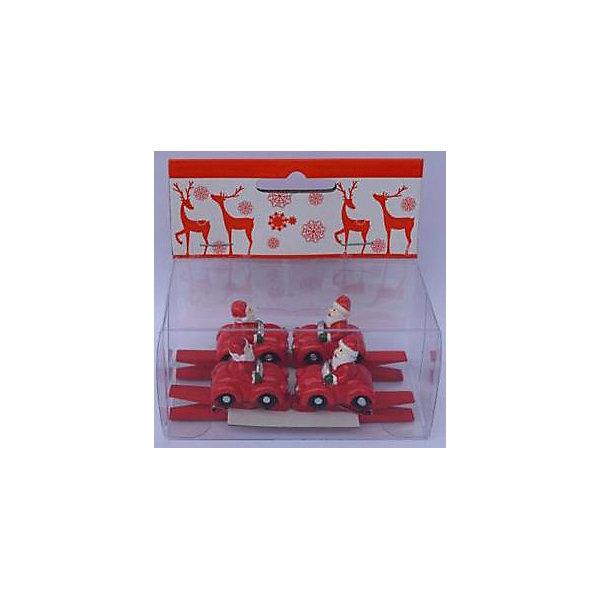 Набор прищепок Санты в автомобиле 4 штНовогодние сувениры<br>Предновогодние хлопоты многие любят даже больше самого праздника! Праздничное настроение создает в первую очередь украшенный дом и, особенно, наряженная ёлка. Будь она из леса или искусственная - такие подвесные игрушки украсят любую!<br>Они сделаны из безопасного для детей, прочного, но легкого, материала, поэтому не разобьются, упав на пол. На украшениях есть прищепка, чтобы их можно было крепить на ёлку. Благодаря расцветке украшение отлично смотрится на ёлке. Создайте с ним праздничное настроение себе и близким!<br><br>Дополнительная информация:<br><br>размер: 10 х 9 х 5 см;<br>материал: полирезина;<br>комплектация: 4 шт.<br><br>Набор прищепок Санты в автомобиле 4 шт можно купить в нашем магазине.<br><br>Ширина мм: 150<br>Глубина мм: 150<br>Высота мм: 60<br>Вес г: 66<br>Возраст от месяцев: 36<br>Возраст до месяцев: 2147483647<br>Пол: Унисекс<br>Возраст: Детский<br>SKU: 4981654