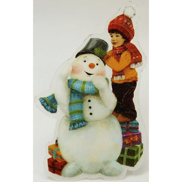 Украшение Снеговик и мальчик со светодиодной подсветкойЁлочные игрушки<br>Сверкающие и светящиеся украшения - обязательный атрибут Нового года! Особое время - сам праздник и предновогодние хлопоты - ждут не только дети, но и взрослые! Праздничное настроение создает в первую очередь украшенный дом и наряженная ёлка. <br>Эта фигурка идет в комплекте с элементом питания, который помогает создавать для неё праздничную подсветку. Изделие произведено из безопасного для детей, прочного, но легкого, материала. Создайте с ним праздничное настроение себе и близким!<br><br>Дополнительная информация:<br><br>цвет: разноцветный;<br>материал: ПВХ;<br>элемент питания: CR2032;<br>мощность 0,06 Вт, напряжение 3 В;<br>размер: 12 x 8 x 3 см.<br><br>Украшение Снеговик и мальчик со светодиодной подсветкой можно купить в нашем магазине.<br><br>Ширина мм: 150<br>Глубина мм: 150<br>Высота мм: 60<br>Вес г: 28<br>Возраст от месяцев: 36<br>Возраст до месяцев: 2147483647<br>Пол: Унисекс<br>Возраст: Детский<br>SKU: 4981667