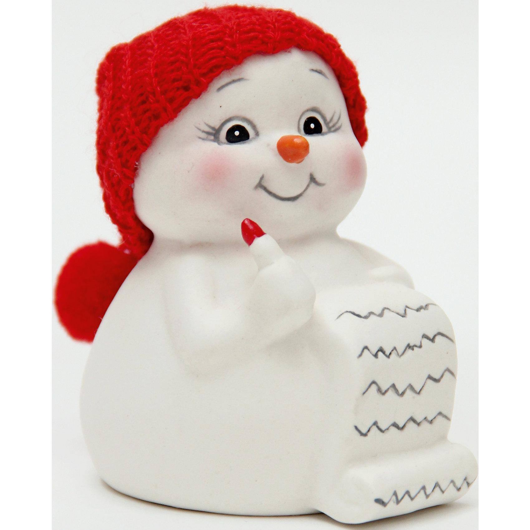 Керамический снеговик Список подарковНовогодние сувениры<br>Эта керамическая фигурка может стать отличным подарком на Новый год или украшением для дома! Особое время - сам праздник и предновогодние хлопоты - ждут не только дети, но и взрослые! Праздничное настроение создает в первую очередь украшенный дом и наряженная ёлка. <br>Эта фигурка создаст особый настрой, она выглядит очень празднично и симпатично. Изделие произведено из безопасного для детей материала. Создайте с ним праздничное настроение себе и близким!<br><br>Дополнительная информация:<br><br>цвет: разноцветный;<br>материал: керамика;<br>размер: 8 см.<br><br>Керамический снеговик Список подарков можно купить в нашем магазине.<br><br>Ширина мм: 150<br>Глубина мм: 150<br>Высота мм: 60<br>Вес г: 103<br>Возраст от месяцев: 36<br>Возраст до месяцев: 2147483647<br>Пол: Унисекс<br>Возраст: Детский<br>SKU: 4981673