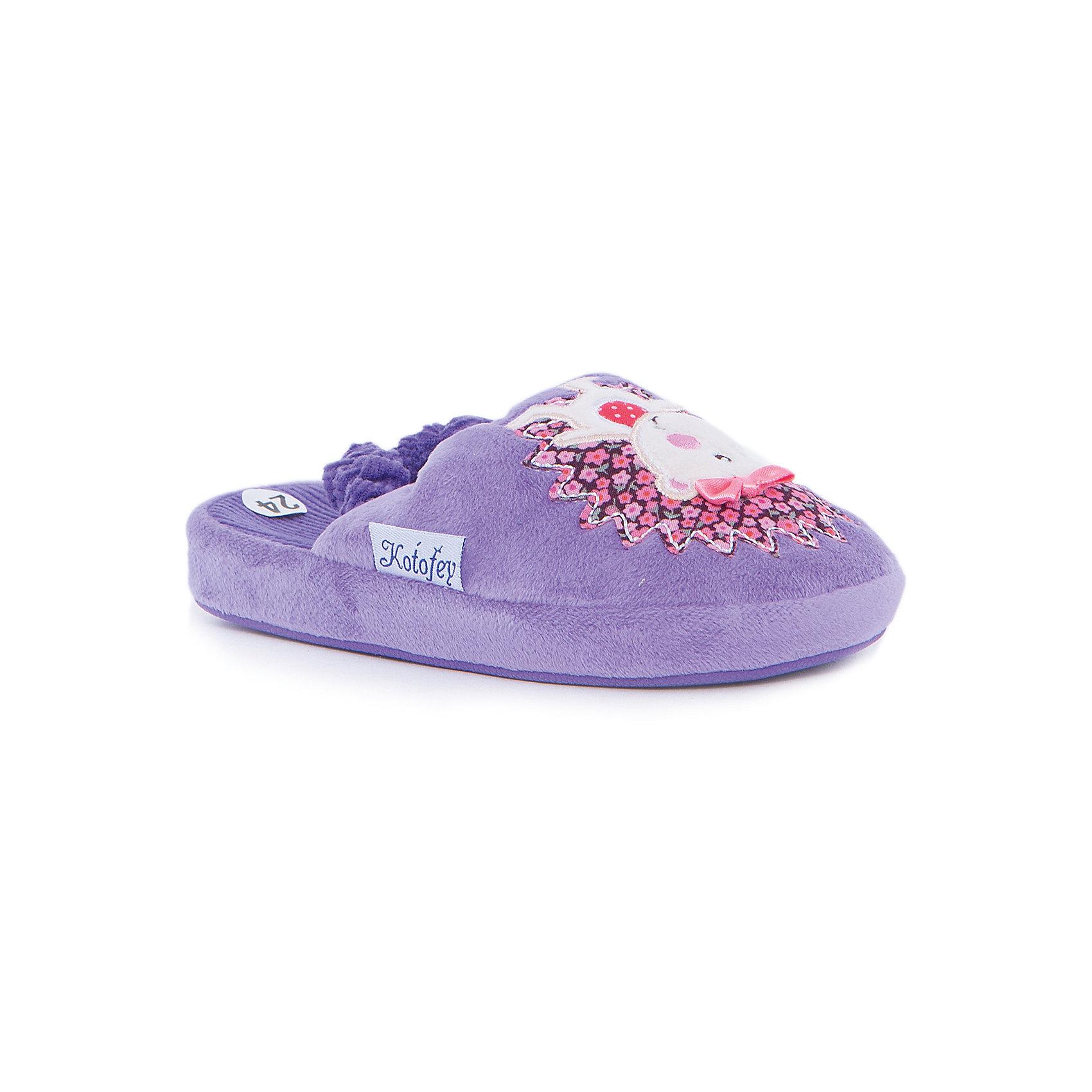 Домашние тапочки для девочки КотофейДомашние тапочки<br>Котофей – качественная и стильная детская обувь по доступным ценам. С каждым днем популярность бренда растет.  Обувь – отражение человека. Домашней обуви необходимо уделять такое же внимание, как и уличной. Милые тапочки с популярным героем станут любимым предметом гардероба маленькой модницы. Такая домашняя обувь одновременно и согреет и будет стильным аксессуаром к любимой пижамке подходящего цвета.<br><br>Дополнительная информация:<br><br>цвет: цветной;<br>крепление: клеевое.<br><br>Состав:<br>верх – утепленный текстиль;<br>материал подклада – текстиль;<br>подошва – ТЭП.<br><br>Цветные тапочки для девочек дошкольного возраста из текстиля от фирмы Котофей можно приобрести в нашем магазине.<br><br>Ширина мм: 219<br>Глубина мм: 158<br>Высота мм: 118<br>Вес г: 274<br>Цвет: лиловый<br>Возраст от месяцев: 21<br>Возраст до месяцев: 24<br>Пол: Женский<br>Возраст: Детский<br>Размер: 24,28,29,26,27,25<br>SKU: 4982025