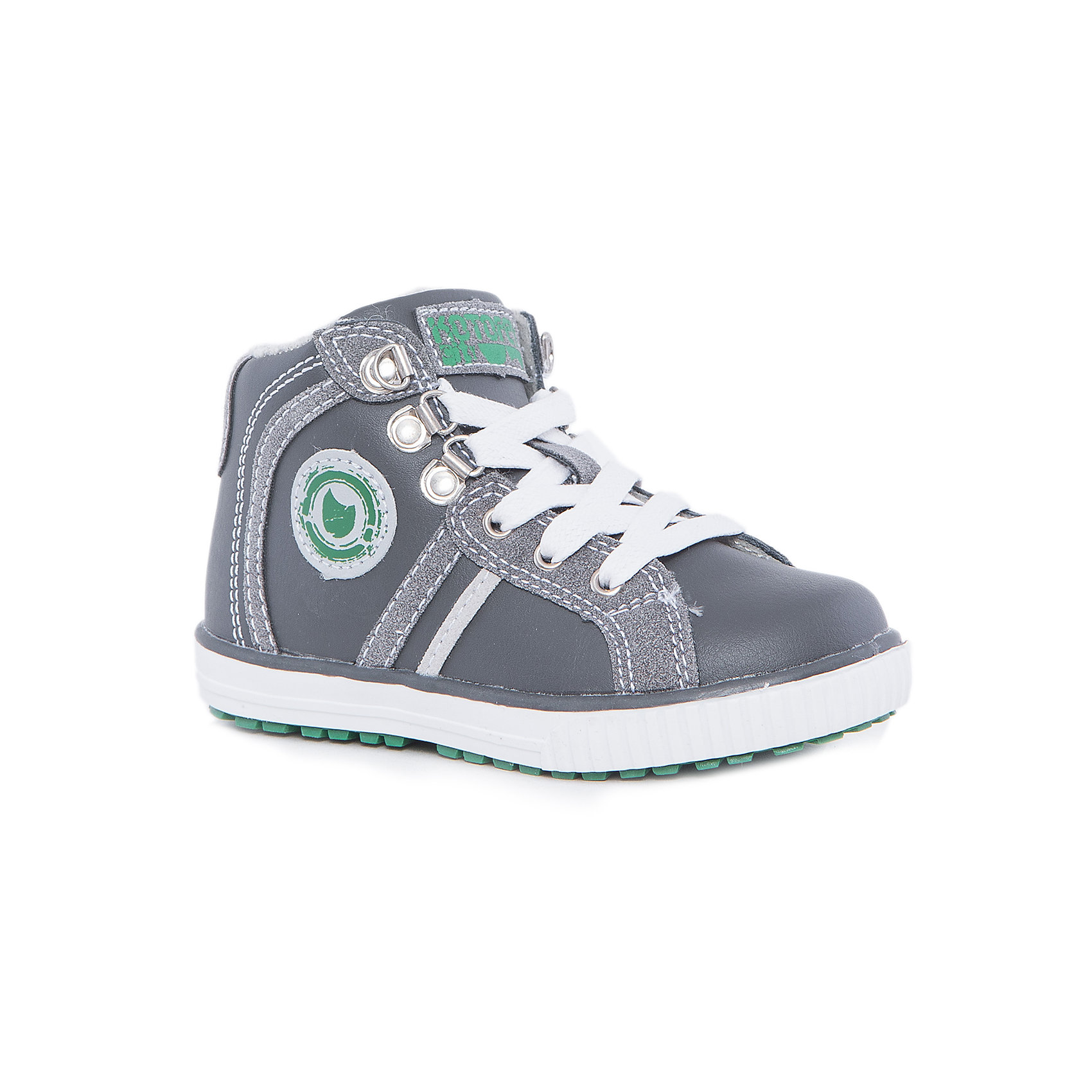 Ботинки для мальчика КотофейБотинки<br>Котофей – качественная и стильная детская обувь по доступным ценам. С каждым днем популярность бренда растет.  С наступлением осенних холодов очень важно выбрать удобную и теплую обувь, которая защитит ножки малыша от промокания, а здоровье от простуды. Стильные серые ботинки на шнуровке – прекрасный выбор обновки гардероба к новому сезону. У модели есть модная отстрочка и аппликация с принтом.<br><br>Дополнительная информация:<br><br>цвет: серый;<br>вид крепления: на клею;<br>застежка: шнуровка;<br>температурный режим: от 0° С до +15° С.<br><br>Состав:<br>материал верха – комбинированный;<br>материал подклада – байка;<br>подошва – ТЭП.<br><br>Осенние ботиночки для мальчика дошкольного возраста из искусственной кожи от фирмы Котофей можно приобрести в нашем магазине.<br><br>Ширина мм: 262<br>Глубина мм: 176<br>Высота мм: 97<br>Вес г: 427<br>Цвет: серый<br>Возраст от месяцев: 36<br>Возраст до месяцев: 48<br>Пол: Мужской<br>Возраст: Детский<br>Размер: 27,26,25,28,29<br>SKU: 4982032