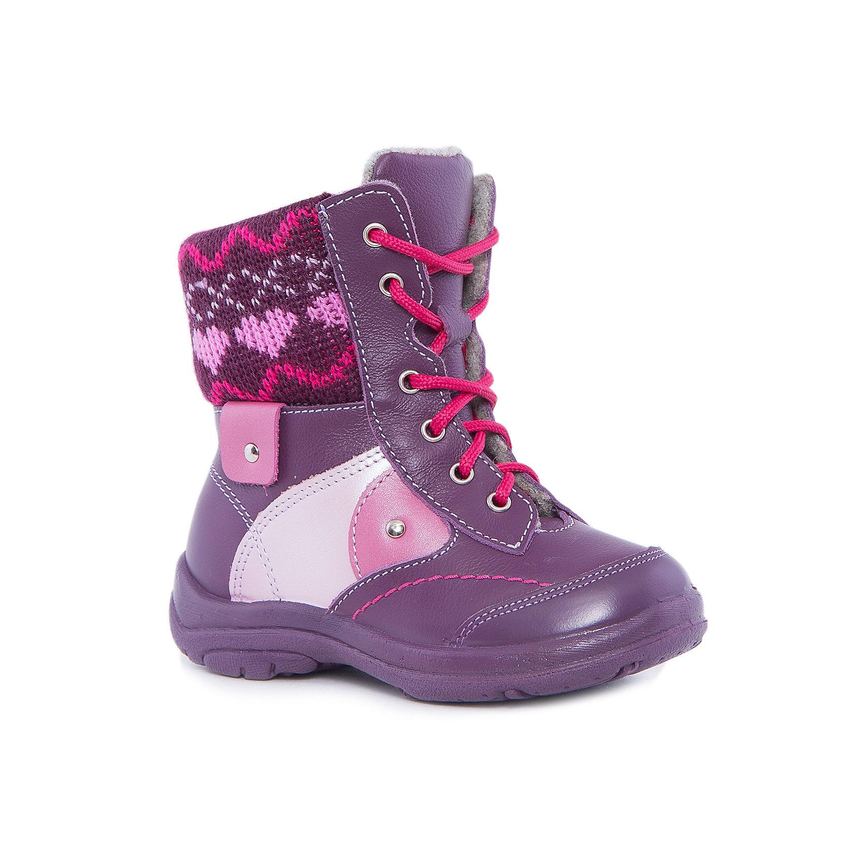 Ботинки для девочки КотофейКотофей – качественная и стильная детская обувь по доступным ценам. С каждым днем популярность бренда растет.  Зимние ботинки для мальчика из новой коллекции отвечают всем модным тенденциям и требованиям по качеству одновременно. У модели есть стильная отстрочка и детали подходящего оттенка. Отличительная особенность ботиночек – яркая манжета в районе щиколотки, защищающая от ветра.<br><br>Дополнительная информация:<br><br>цвет: фиолетовый;<br>крепление: литьевое;<br>застежка: шнурки, пластмассовая молния;<br>температурный режим: от -10 °С до +10° С.<br><br>Состав:<br>верх – кожаный материал;<br>подклад – материал байка;<br>материал подошвы – ПУ.<br><br>Зимние ботиночки для девочек  дошкольного возраста из кожи от фирмы Котофей можно приобрести у нас в магазине.<br><br>Ширина мм: 262<br>Глубина мм: 176<br>Высота мм: 97<br>Вес г: 427<br>Цвет: фиолетовый<br>Возраст от месяцев: 24<br>Возраст до месяцев: 36<br>Пол: Женский<br>Возраст: Детский<br>Размер: 25,27,26,28<br>SKU: 4982131