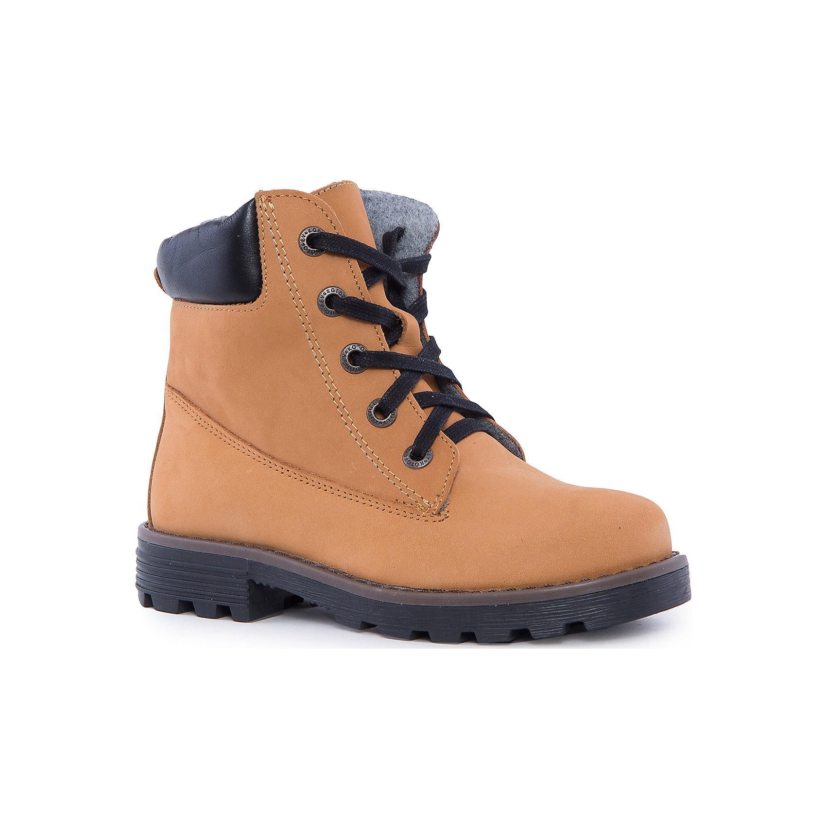 Ботинки для мальчика КотофейБотинки<br>Котофей – качественная и стильная детская обувь по доступным ценам. С каждым днем популярность бренда растет.  С наступлением осенних холодов очень важно выбрать удобную и теплую обувь, которая защитит ножки малыша от промокания, а здоровье от простуды. Стильные желтые ботинки – копия взрослых моделей, созданная специально для малышей, которые хотят выглядеть, как их папы. Модель отвечает всем модным требованиям.<br><br>Дополнительная информация:<br><br>цвет: жёлтый;<br>вид крепления: на клею;<br>застежка: шнуровка;<br>температурный режим: от 0°С до +15° С.<br><br>Состав:<br>материал верха – кожа;<br>подклад – байковый материал;<br>подошва – ТЭП.<br><br>Осенние ботиночки из натурального материала для мальчика  школьного возраста от фирмы Котофей можно приобрести у нас в магазине.<br><br>Ширина мм: 262<br>Глубина мм: 176<br>Высота мм: 97<br>Вес г: 427<br>Цвет: желтый<br>Возраст от месяцев: 108<br>Возраст до месяцев: 120<br>Пол: Мужской<br>Возраст: Детский<br>Размер: 33,35,36,32,34,37<br>SKU: 4982262