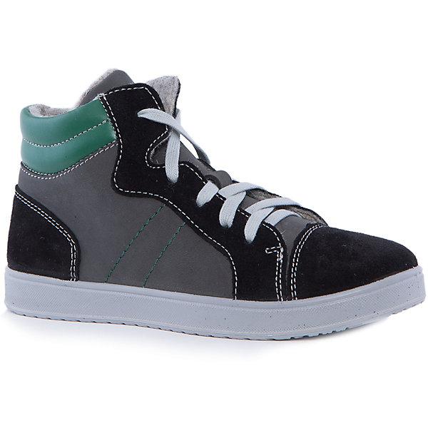 Ботинки для мальчика КотофейБотинки<br>Котофей – качественная и стильная детская обувь по доступным ценам. С каждым днем популярность бренда растет.  Невероятно модная модель весенних ботинок полюбится и мамам и малышам. Удобство кроссовок и одновременно стильный дизайн в совокупности образуют уникальную обувь. Модель сшита из деталей разных форм с цветной отстрочкой, что делает модель довольно интересной.<br><br>Дополнительная информация:<br><br>цвет: черно-зеленый;<br>крепление: литьевое;<br>застежка: шнуровка;<br>температурный режим: от 0°С до +15° С.<br><br>Состав:<br>материал верха – кожа;<br>подклад – байковый материал;<br>подошва –ПУ.<br><br>Весенние ботиночки из качественной кожи для мальчика дошкольного возраста от фирмы Котофей можно приобрести у нас в магазине.<br>Ширина мм: 262; Глубина мм: 176; Высота мм: 97; Вес г: 427; Цвет: черный; Возраст от месяцев: 96; Возраст до месяцев: 108; Пол: Мужской; Возраст: Детский; Размер: 32,33,34,35; SKU: 4982269;