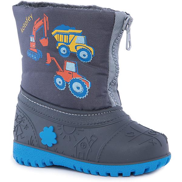 Сноубутсы для мальчика КотофейСноубутсы<br>Котофей – качественная и стильная детская обувь по доступным ценам. С каждым днем популярность бренда растет.  При выборе обуви важно следить, чтобы модель была не только красивой и удобной, то и теплой, а так же защищала ножки малыша от промокания. Сочетание резиновых сапог и теплых зимних ботинок создало уникальную модель из новой коллекции.<br><br>Дополнительная информация:<br><br>цвет: серый;<br>вид крепления: прошивной;<br>застежка: шнуровка с креплением;<br>температурный режим: от -15 °С до +5° С.<br><br>Состав:<br>материал верха – комбинированный;<br>подкладка – мех шерстяной;<br>подошва – мегол.<br><br>Зимние сапожки из прочных и качественных материалов для мальчика ясельного возраста от фирмы Котофей можно приобрести у нас в магазине.<br><br>Ширина мм: 257<br>Глубина мм: 180<br>Высота мм: 130<br>Вес г: 420<br>Цвет: серый<br>Возраст от месяцев: 18<br>Возраст до месяцев: 24<br>Пол: Мужской<br>Возраст: Детский<br>Размер: 23/24,25/26,21/22<br>SKU: 4982349