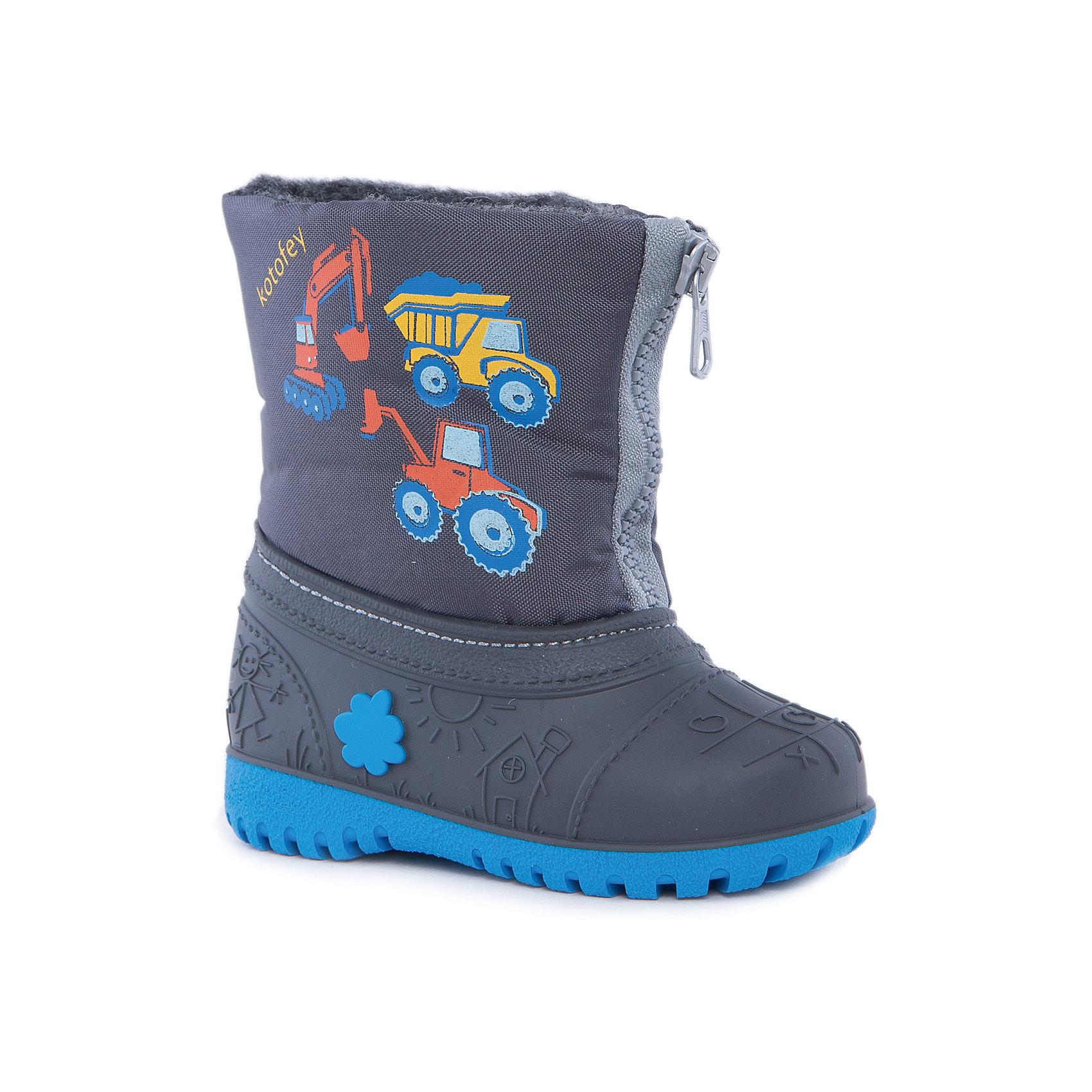 Сапоги для мальчика КотофейКотофей – качественная и стильная детская обувь по доступным ценам. С каждым днем популярность бренда растет.  При выборе обуви важно следить, чтобы модель была не только красивой и удобной, то и теплой, а так же защищала ножки малыша от промокания. Сочетание резиновых сапог и теплых зимних ботинок создало уникальную модель из новой коллекции.<br><br>Дополнительная информация:<br><br>цвет: серый;<br>вид крепления: прошивной;<br>застежка: шнуровка с креплением;<br>температурный режим: от -15 °С до +5° С.<br><br>Состав:<br>материал верха – комбинированный;<br>подкладка – мех шерстяной;<br>подошва – мегол.<br><br>Зимние сапожки из прочных и качественных материалов для мальчика ясельного возраста от фирмы Котофей можно приобрести у нас в магазине.<br><br>Ширина мм: 257<br>Глубина мм: 180<br>Высота мм: 130<br>Вес г: 420<br>Цвет: серый<br>Возраст от месяцев: 24<br>Возраст до месяцев: 36<br>Пол: Мужской<br>Возраст: Детский<br>Размер: 25/26,23/24,21/22<br>SKU: 4982349