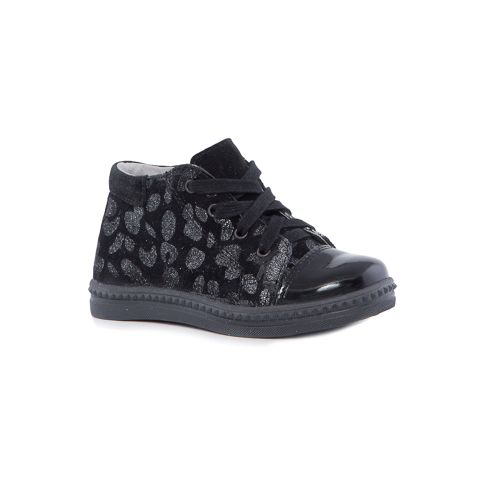 Ботинки для девочки КотофейКотофей – качественная и стильная детская обувь по доступным ценам. С каждым днем популярность бренда растет.  Модный дизайн и невероятное удобство ботинок для девочек из новой коллекции оценят все обладательницы данной модели. Стильные черные ботинки с принтом на замшевой части на удобной застежке – молнии -  прекрасный выбор обновки гардероба к новому сезону. <br><br>Дополнительная информация:<br><br>цвет: черный;<br>вид крепления: на клею;<br>застежка: пластиковая молния, шнуровка;<br>температурный режим: от +5°С до +15° С.<br><br>Состав:<br>материал верха – кожа;<br>материал подклада – кожподкладка;<br>подошва – ТЭП.<br><br>Осенние ботиночки из натуральной кожи для девочки дошкольного возраста от фирмы Котофей можно приобрести в нашем магазине.<br><br>Ширина мм: 262<br>Глубина мм: 176<br>Высота мм: 97<br>Вес г: 427<br>Цвет: черный<br>Возраст от месяцев: 48<br>Возраст до месяцев: 60<br>Пол: Женский<br>Возраст: Детский<br>Размер: 28,27,24,26,29,25<br>SKU: 4982433