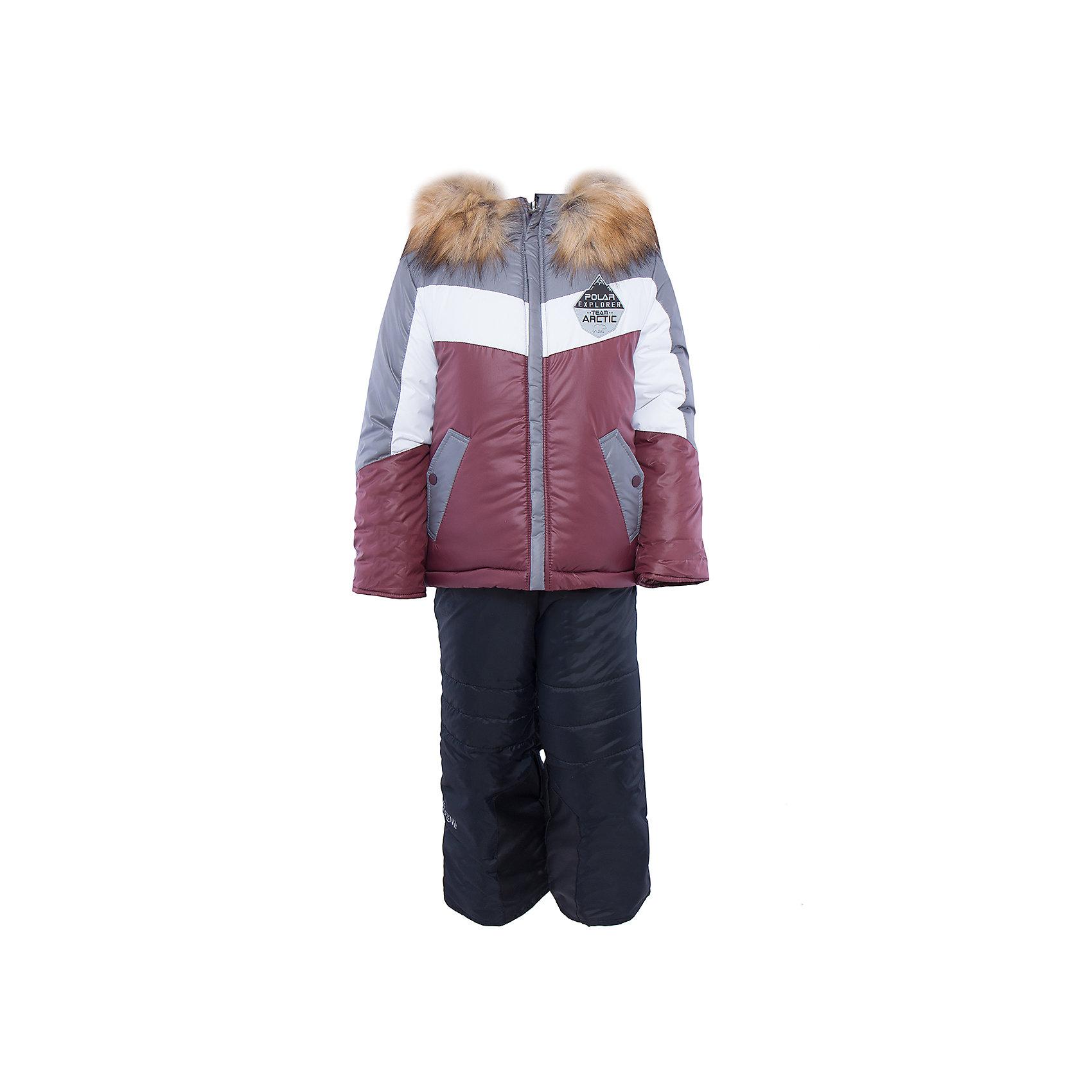 Комплект: куртка и брюки для мальчика BOOM by OrbyВерхняя одежда<br>Характеристики изделия:<br><br>- комплектация: куртка, полукомбинезон;<br>- материал верха: болонь;<br>- подкладка: ПЭ, флис;<br>- утеплитель: эко-синтепон 400 г/м2, 200 г/м2; <br>- отделка: искусственный мех;<br>- фурнитура: металл, пластик;<br>- застежка: молния;<br>- капюшон;<br>- защита подбородка;<br>- клапан от ветра;<br>- принт на куртке;<br>- температурный режим до -30°С<br><br><br>В холодный сезон важно одеть ребенка комфортно и тепло. Этот стильный и теплый комплект позволит мальчику наслаждаться зимним отдыхом, не боясь замерзнуть, и выглядеть при этом очень симпатично.<br>Теплая куртка плотно сидит благодаря манжетам и надежным застежкам. Она смотрится очень эффектно благодаря пушистому воротнику. Полукомбинезон дополнен регулируемыми лямками, карманами и манжетами.<br><br>Комплект: курта и брюки для мальчика от бренда BOOM by Orby можно купить в нашем магазине.<br><br>Ширина мм: 215<br>Глубина мм: 88<br>Высота мм: 191<br>Вес г: 336<br>Цвет: серый<br>Возраст от месяцев: 24<br>Возраст до месяцев: 36<br>Пол: Мужской<br>Возраст: Детский<br>Размер: 122,104,116,86,110,92,98<br>SKU: 4982730