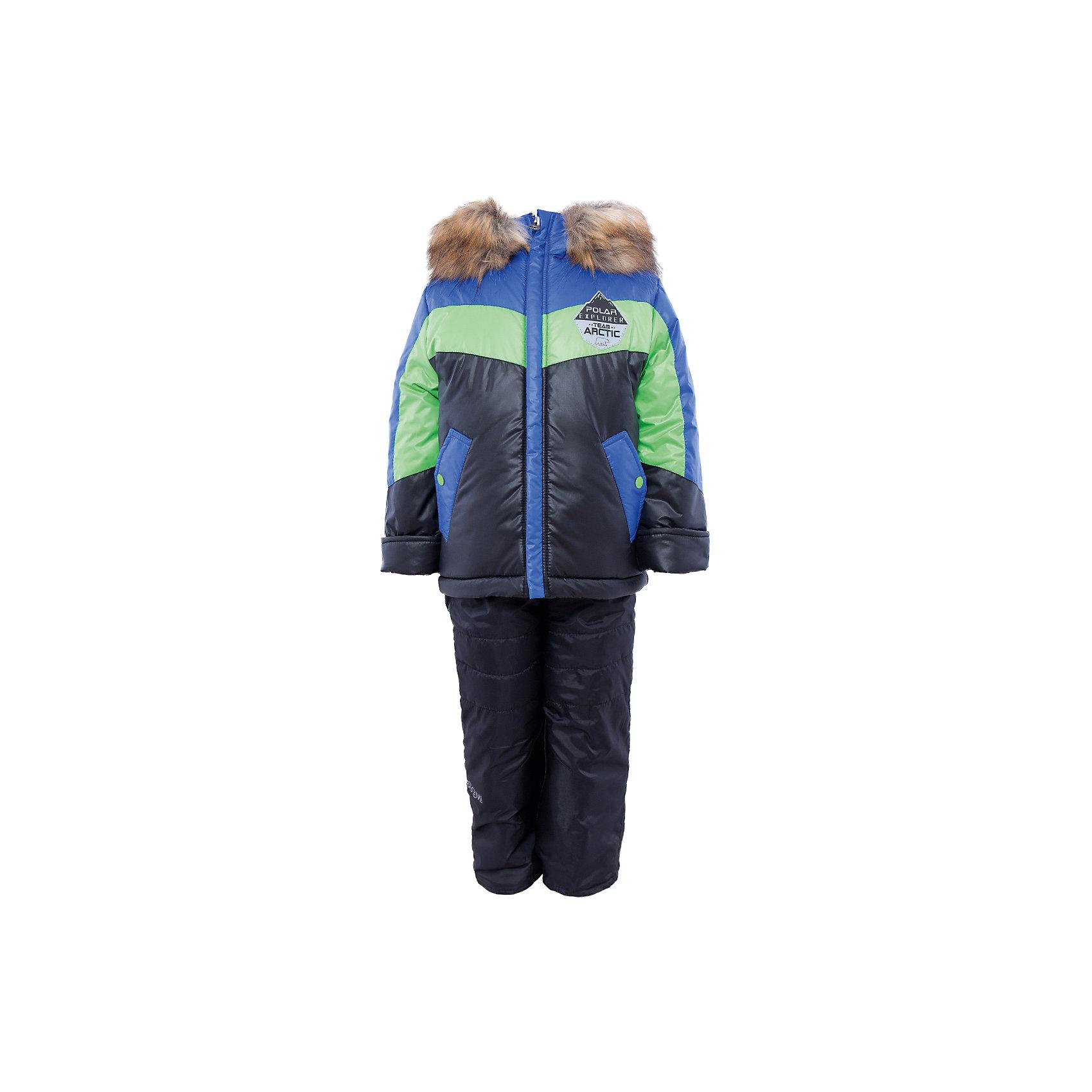 Комплект: куртка и брюки для мальчика BOOM by OrbyВерхняя одежда<br>Характеристики изделия:<br><br>- комплектация: куртка, полукомбинезон;<br>- материал верха: болонь;<br>- подкладка: ПЭ, флис;<br>- утеплитель: эко-синтепон 400 г/м2, 200 г/м2; <br>- отделка: искусственный мех;<br>- фурнитура: металл, пластик;<br>- застежка: молния;<br>- капюшон;<br>- защита подбородка;<br>- клапан от ветра;<br>- принт на куртке;<br>- температурный режим до -30°С<br><br><br>В холодный сезон важно одеть ребенка комфортно и тепло. Этот стильный и теплый комплект позволит мальчику наслаждаться зимним отдыхом, не боясь замерзнуть, и выглядеть при этом очень симпатично.<br>Теплая куртка плотно сидит благодаря манжетам и надежным застежкам. Она смотрится очень эффектно благодаря пушистому воротнику. Полукомбинезон дополнен регулируемыми лямками, карманами и манжетами.<br><br>Комплект: курта и брюки для мальчика от бренда BOOM by Orby можно купить в нашем магазине.<br><br>Ширина мм: 215<br>Глубина мм: 88<br>Высота мм: 191<br>Вес г: 336<br>Цвет: синий<br>Возраст от месяцев: 12<br>Возраст до месяцев: 18<br>Пол: Мужской<br>Возраст: Детский<br>Размер: 110,104,92,98,116,122,86<br>SKU: 4982738