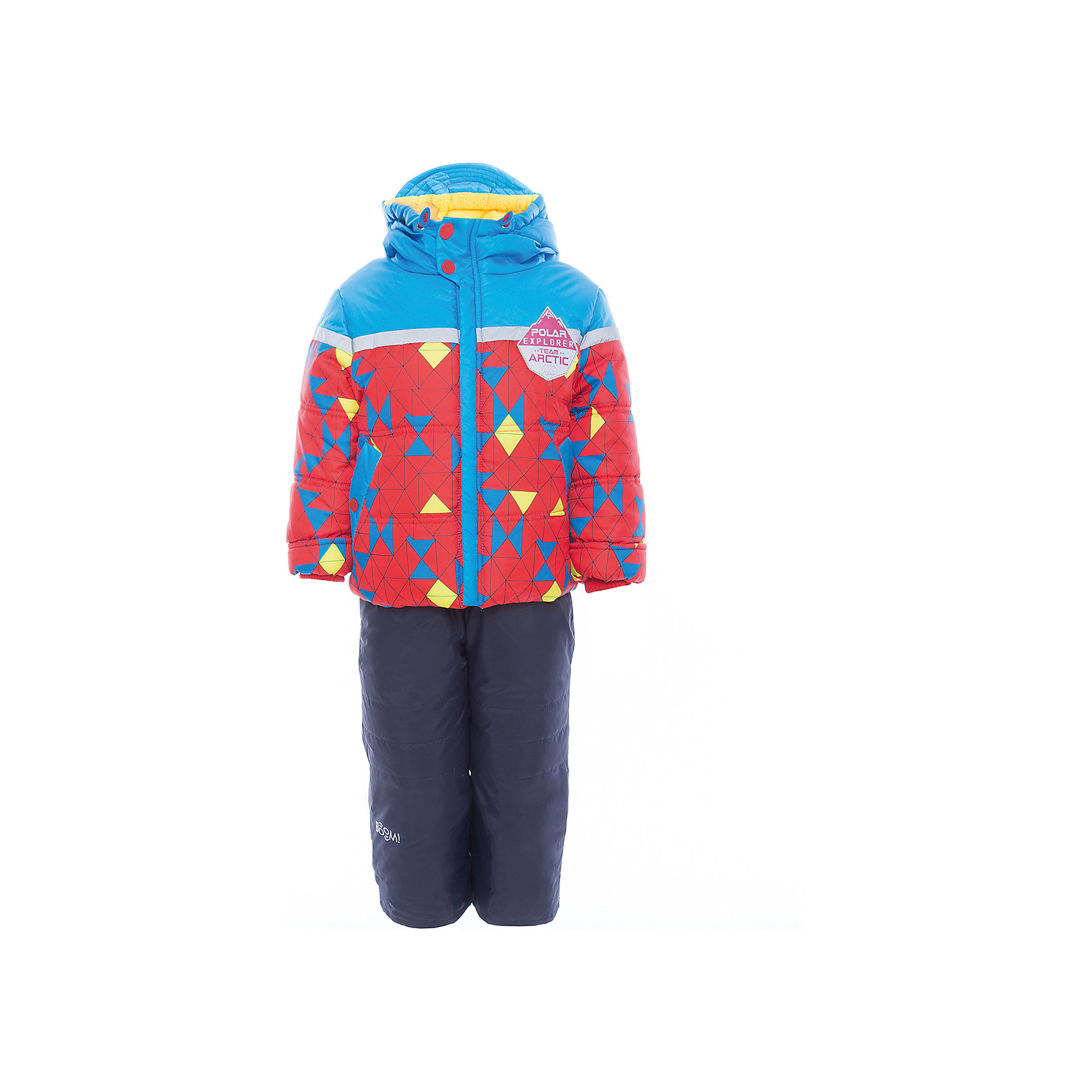 Комплект: куртка и брюки для мальчика BOOM by OrbyХарактеристики изделия:<br><br>- комплектация: куртка, полукомбинезон;<br>- материа л верха: 100% полиэстер;;<br>- подкладка: ПЭ, флис;<br>- утеплитель: эко-синтепон 400 г/м2, 200 г/м2; <br>- фурнитура: металл, пластик;<br>- застежка: молния;<br>- капюшон;<br>- внутренний ветрозащитный клапан;<br>- принт на куртке;<br>- температурный режим до -30°С<br><br><br>В холодный сезон важно одеть ребенка комфортно и тепло. Этот стильный и теплый комплект позволит мальчику наслаждаться зимним отдыхом, не боясь замерзнуть, и выглядеть при этом очень симпатично.<br>Теплая куртка плотно сидит благодаря манжетам и надежным застежкам. Она смотрится очень эффектно благодаря стильному принту. Полукомбинезон дополнен регулируемыми лямками, карманами и манжетами.<br><br>Комплект: курта и брюки для мальчика от бренда BOOM by Orby можно купить в нашем магазине.<br><br>Ширина мм: 215<br>Глубина мм: 88<br>Высота мм: 191<br>Вес г: 336<br>Цвет: синий<br>Возраст от месяцев: 12<br>Возраст до месяцев: 18<br>Пол: Мужской<br>Возраст: Детский<br>Размер: 86,92,116,98,122,104,110<br>SKU: 4982746