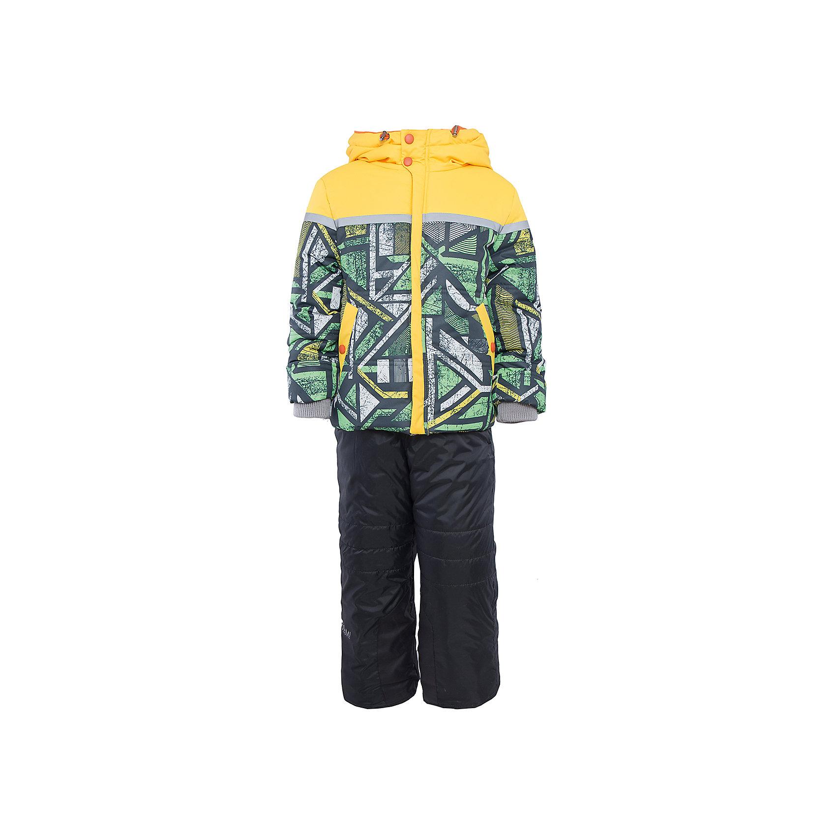 Комплект: куртка и брюки для мальчика BOOM by OrbyВерхняя одежда<br>Характеристики изделия:<br><br>- комплектация: куртка, полукомбинезон;<br>- материа л верха: 100% полиэстер;;<br>- подкладка: ПЭ, флис;<br>- утеплитель: эко-синтепон 400 г/м2, 200 г/м2; <br>- фурнитура: металл, пластик;<br>- застежка: молния;<br>- капюшон;<br>- внутренний ветрозащитный клапан;<br>- принт на куртке;<br>- температурный режим до -30°С<br><br><br>В холодный сезон важно одеть ребенка комфортно и тепло. Этот стильный и теплый комплект позволит мальчику наслаждаться зимним отдыхом, не боясь замерзнуть, и выглядеть при этом очень симпатично.<br>Теплая куртка плотно сидит благодаря манжетам и надежным застежкам. Она смотрится очень эффектно благодаря стильному принту. Полукомбинезон дополнен регулируемыми лямками, карманами и манжетами.<br><br>Комплект: курта и брюки для мальчика от бренда BOOM by Orby можно купить в нашем магазине.<br><br>Ширина мм: 215<br>Глубина мм: 88<br>Высота мм: 191<br>Вес г: 336<br>Цвет: зеленый<br>Возраст от месяцев: 24<br>Возраст до месяцев: 36<br>Пол: Мужской<br>Возраст: Детский<br>Размер: 98,110,116,122,92,86,104<br>SKU: 4982754
