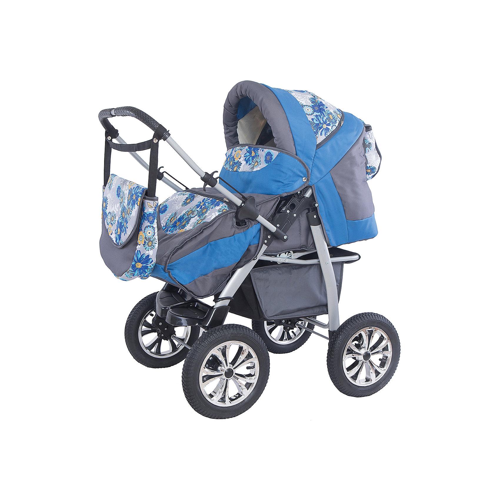Smile Line Коляска-трансформер OSCAR PCOs 03, Smile Line, серый/голубой-принт коляска 2 в 1 smile line indiana 17 classic 12