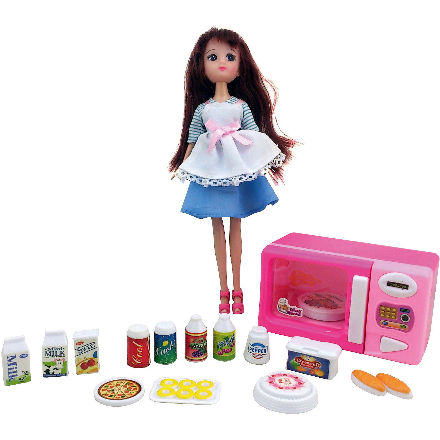 Игровой набор Кукла, микроволновая печка, продукты, KruttiИгрушечная бытовая техника<br>Яркий набор с куклой, микроволновой печкой и продуктами, будет прекрасным сюрпризом для Вашей малышки!<br>В наборе: кукла - 1шт. (высота 24 см), микроволновая печь - 1шт. (длина 11,5 см), пицца - 1шт., банка с напитком - 2шт., торт - 1шт., бутылка с сиропом - 2шт., пирожки - 2шт., поднос с пончиками - 1шт., пакет молока - 2шт., перечница - 1шт., коробочка с соком - 1шт., контейнер с овощами - 1шт.<br><br>Дополнительная информация:<br><br>- Возраст: от 3 лет.<br>- Материал: пластик с элементами металла, текстиль.<br>- Размер упаковки: 11.5х4х23.5 см.<br>- Вес в упаковке: 568 г.<br><br>Купить игровой набор Кукла, микроволновая печка, продукты от Krutti, можно в нашем магазине.<br><br>Ширина мм: 115<br>Глубина мм: 40<br>Высота мм: 235<br>Вес г: 568<br>Возраст от месяцев: 36<br>Возраст до месяцев: 2147483647<br>Пол: Унисекс<br>Возраст: Детский<br>SKU: 4985466