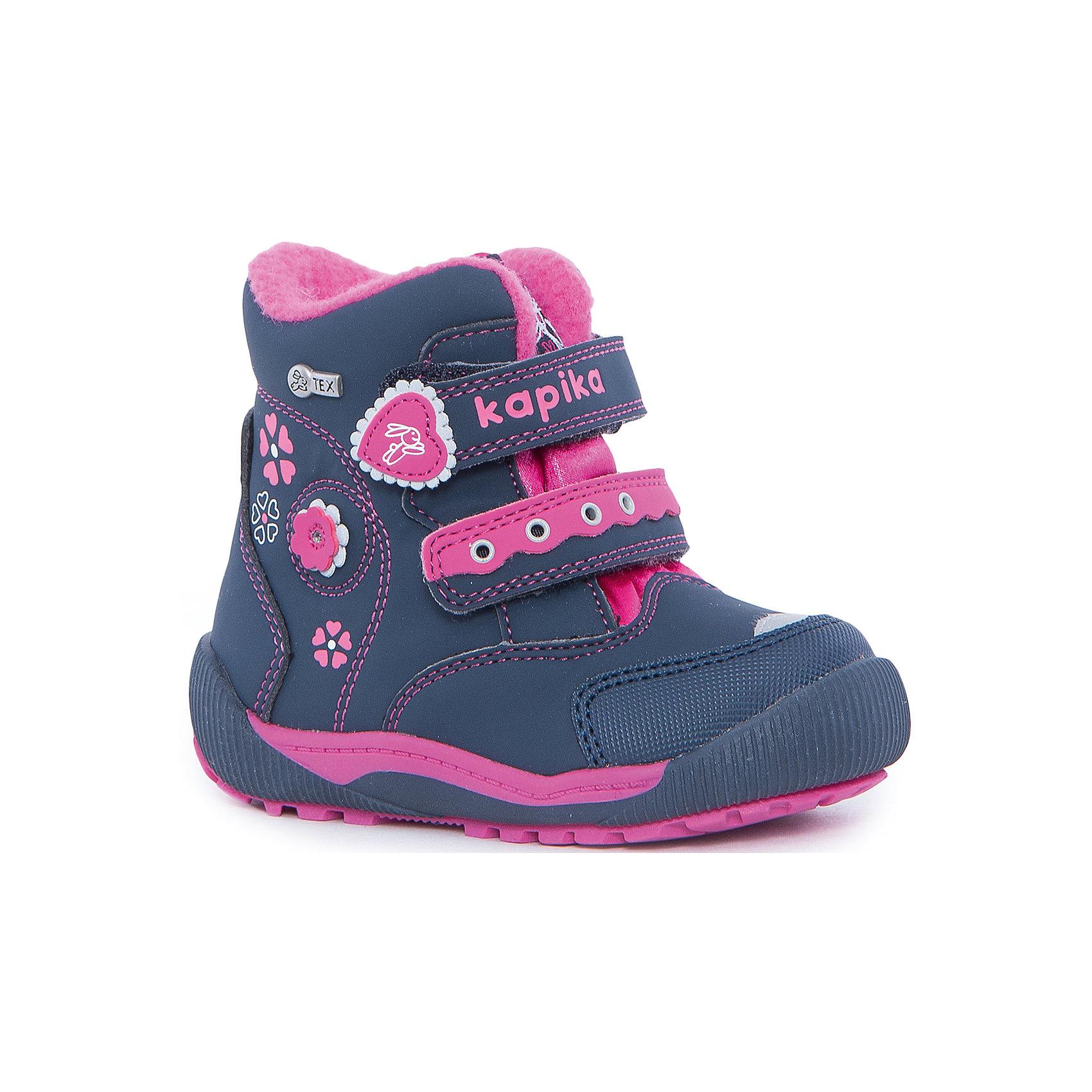 Ботинки для девочки KAPIKAОбувь для малышей<br>Ботинки для девочки KAPIKA.<br><br>Температурный режим: до -20 градусов. Степень утепления – средняя.<br><br>* Температурный режим указан приблизительно — необходимо, прежде всего, ориентироваться на ощущения ребенка. <br><br>Ботинки отлично подойдут для прогулок в холодное время года. С ними прогулки вашей малышки станут еще интереснее и удобнее,ведь они не будут натирать и сковывать движение. Порадуйте себя и свою малышку  таким замечательным подарком. <br><br>Характеристика:<br>-Цвет: синий+розовый<br>-Материал: снаружи- текстиль + искусственная кожа,                       подкладка:текстиль(шерсть 80%)<br>-Застёжка: две липучки<br>-Бренд: KAPIKA(КАПИКА)<br>-Сезон: осень-зима<br><br>Ботинки  для девочки KAPIKA  вы можете приобрести в нашем интернет- магазине.<br><br>Ширина мм: 262<br>Глубина мм: 176<br>Высота мм: 97<br>Вес г: 427<br>Цвет: розовый<br>Возраст от месяцев: 15<br>Возраст до месяцев: 18<br>Пол: Женский<br>Возраст: Детский<br>Размер: 22,26,23,24,25<br>SKU: 4987827
