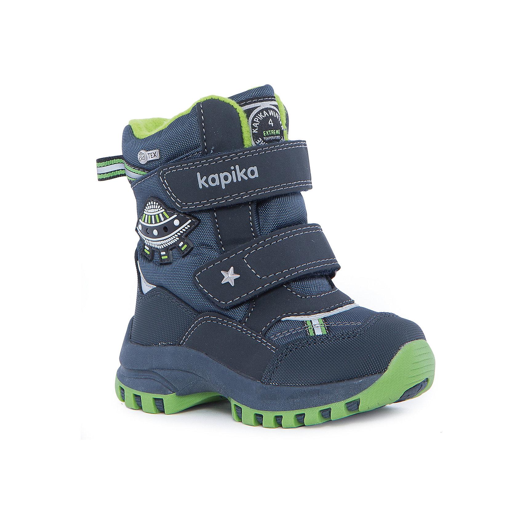 Ботинки для мальчика KAPIKAОбувь для малышей<br>Ботинки для мальчика  KAPIKA.<br><br>Температурный режим: до -20 градусов. Степень утепления – средняя.<br><br>* Температурный режим указан приблизительно — необходимо, прежде всего, ориентироваться на ощущения ребенка. <br><br>Ботинки не только красивые снаружи, но и тёплые внутри. С ними прогулки вашего малыша станут еще интереснее и удобнее,ведь они не будут натирать ножки и позволят ребёнку двигаться без ограничений. Подарите вашему малышу незабываемые зимние прогулки. <br><br>Характеристика:<br>-Цвет: синий+зелёный<br>-Материал: снаружи- текстиль + искусственная кожа,                     подкладка:текстиль(шерсть 80%)<br>-Застёжка: две липучки<br>-Бренд: KAPIKA(КАПИКА)<br>-Сезон: осень-зима<br><br>Ботинки  для мальчика KAPIKA  вы можете приобрести в нашем интернет- магазине.<br><br>Ширина мм: 262<br>Глубина мм: 176<br>Высота мм: 97<br>Вес г: 427<br>Цвет: синий/зеленый<br>Возраст от месяцев: 18<br>Возраст до месяцев: 21<br>Пол: Мужской<br>Возраст: Детский<br>Размер: 23,27,24,25,26<br>SKU: 4987833