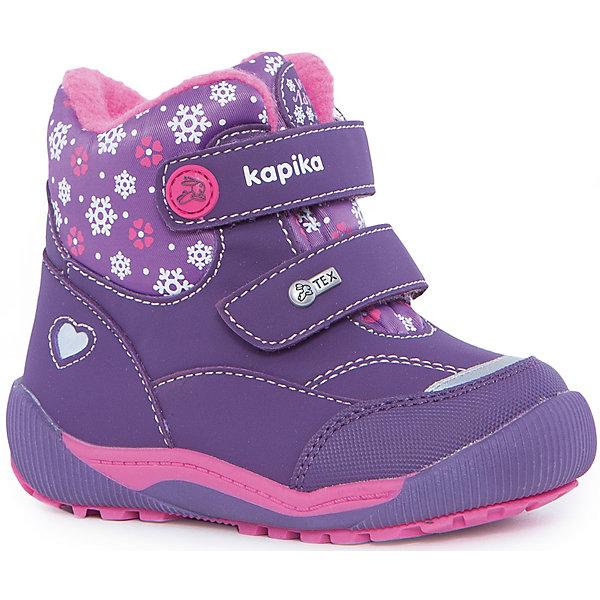 Ботинки для девочки KAPIKAБотинки<br>Ботинки для девочки KAPIKA.<br><br>Температурный режим: до -20 градусов. Степень утепления – средняя. <br><br>* Температурный режим указан приблизительно — необходимо, прежде всего, ориентироваться на ощущения ребенка.<br><br>Ботинки отлично подойдут для прогулок в холодное время года. С ними прогулки вашей малышки станут еще интереснее и удобнее,ведь они не будут натирать и сковывать движение. <br><br>Характеристика:<br>-Цвет: фиолетовый с рисунком<br>-Материал: снаружи- текстиль + искусственная кожа,                       подкладка:текстиль(шерсть 80%)<br>-Застёжка: две липучки<br>-Бренд: KAPIKA(КАПИКА)<br>-Сезон: осень-зима<br><br>Ботинки  для девочки KAPIKA  вы можете приобрести в нашем интернет- магазине.<br>Ширина мм: 262; Глубина мм: 176; Высота мм: 97; Вес г: 427; Цвет: лиловый; Возраст от месяцев: 24; Возраст до месяцев: 24; Пол: Женский; Возраст: Детский; Размер: 25,22,26,24,23; SKU: 4987875;
