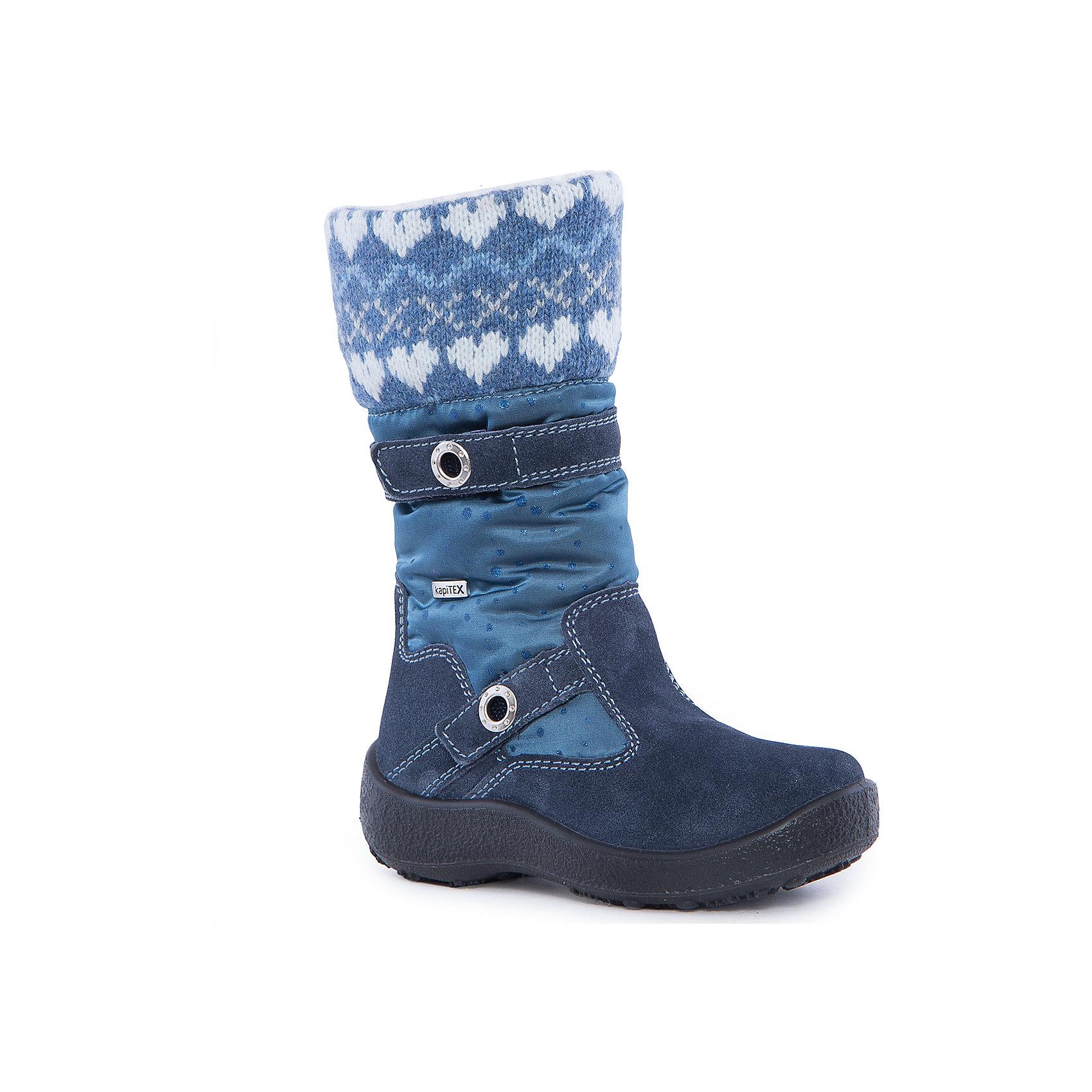 Сапоги для девочки KAPIKAСапоги<br>Сапоги для девочки KAPIKA.<br><br>Температурный режим: до -20 градусов. Степень утепления – средняя. <br><br>* Температурный режим указан приблизительно — необходимо, прежде всего, ориентироваться на ощущения ребенка. <br><br>Стильная обувь с защитой от холода.<br>Модные и красивые удлиненные сапоги можно носить в холодную погоду. Подходят для осени, весны и ранней зимы. Не пропускают влагу, защищают ногу от попадания воды внутрь через верх. Хорошая устойчивая пятка. Сверху дополнительный шерстяной верх для согрева ноги.<br><br>Дополнительная информация:<br><br>- цвет: синий<br>- материал: верх - текстиль; подкладка - текстиль (шерсть 30%); подошва - полимерный материал<br><br>Сапоги для девочки KAPIKA можно купить в нашем интернет магазине.<br><br>Ширина мм: 257<br>Глубина мм: 180<br>Высота мм: 130<br>Вес г: 420<br>Цвет: синий<br>Возраст от месяцев: 36<br>Возраст до месяцев: 48<br>Пол: Женский<br>Возраст: Детский<br>Размер: 27,34,28,29,30,31,32,33<br>SKU: 4987938