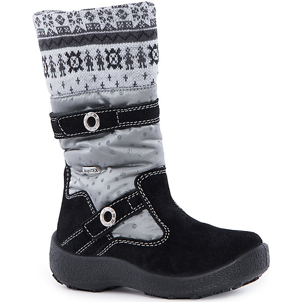 Сапоги для девочки KAPIKAСапоги<br>Сапоги для девочки KAPIKA.<br><br>Температурный режим: до -20 градусов. Степень утепления – средняя. <br><br>* Температурный режим указан приблизительно — необходимо, прежде всего, ориентироваться на ощущения ребенка. <br><br>Стильная обувь с защитой от холода.<br>Модные и красивые удлиненные сапоги можно носить в холодную погоду. Подходят для осени, весны и ранней зимы. Не пропускают влагу, защищают ногу от попадания воды внутрь через верх. Хорошая устойчивая пятка. Сверху дополнительный шерстяной верх для согрева ноги.<br><br>Дополнительная информация:<br><br>- цвет: серо-черный<br>- материал: верх - текстиль; подкладка - текстиль (шерсть 30%); подошва - полимерный материал<br><br>Сапоги для девочки KAPIKA можно купить в нашем интернет магазине.<br><br>Ширина мм: 257<br>Глубина мм: 180<br>Высота мм: 130<br>Вес г: 420<br>Цвет: черный/серый<br>Возраст от месяцев: 36<br>Возраст до месяцев: 48<br>Пол: Женский<br>Возраст: Детский<br>Размер: 27,34,33,32,31,30,29,28<br>SKU: 4987947