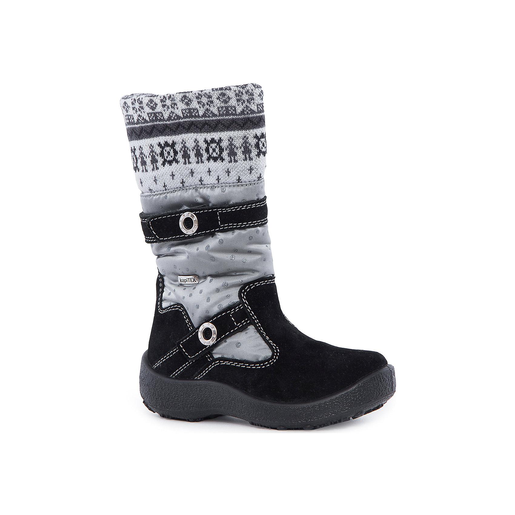 Сапоги для девочки KAPIKAСапоги для девочки KAPIKA.<br><br>Температурный режим: до -20 градусов. Степень утепления – средняя. <br><br>* Температурный режим указан приблизительно — необходимо, прежде всего, ориентироваться на ощущения ребенка. <br><br>Стильная обувь с защитой от холода.<br>Модные и красивые удлиненные сапоги можно носить в холодную погоду. Подходят для осени, весны и ранней зимы. Не пропускают влагу, защищают ногу от попадания воды внутрь через верх. Хорошая устойчивая пятка. Сверху дополнительный шерстяной верх для согрева ноги.<br><br>Дополнительная информация:<br><br>- цвет: серо-черный<br>- материал: верх - текстиль; подкладка - текстиль (шерсть 30%); подошва - полимерный материал<br><br>Сапоги для девочки KAPIKA можно купить в нашем интернет магазине.<br><br>Ширина мм: 257<br>Глубина мм: 180<br>Высота мм: 130<br>Вес г: 420<br>Цвет: черный/серый<br>Возраст от месяцев: 36<br>Возраст до месяцев: 48<br>Пол: Женский<br>Возраст: Детский<br>Размер: 27,28,34,29,30,31,32,33<br>SKU: 4987947