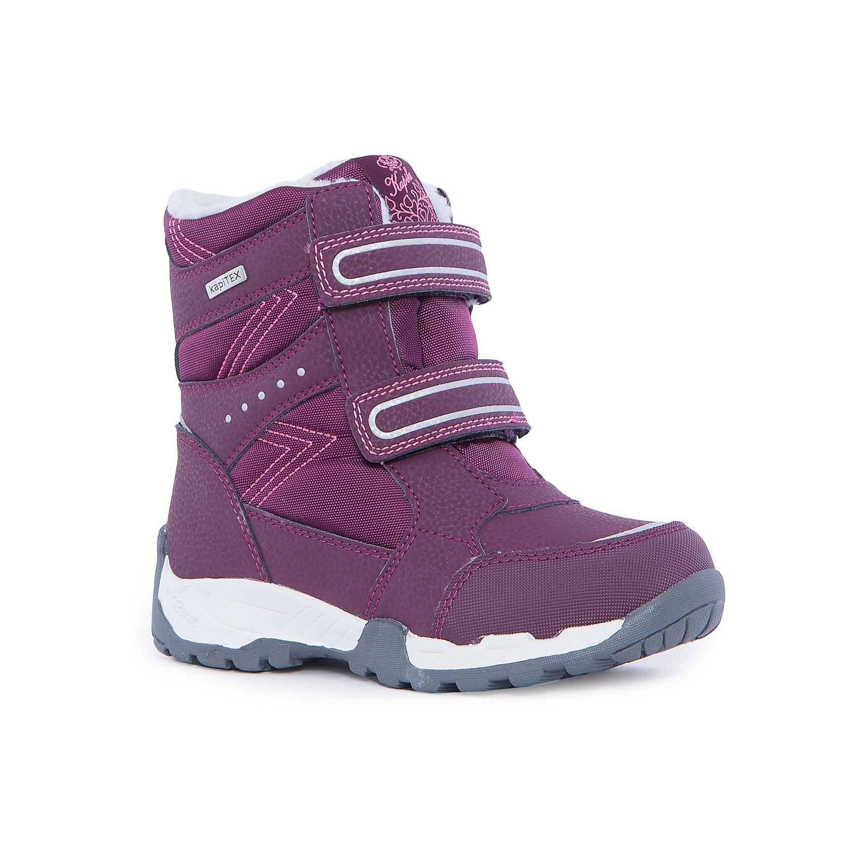 Ботинки для девочки KAPIKAБотинки<br>Ботинки для девочки KAPIKA.<br><br>Температурный режим: до -20 градусов. Степень утепления – средняя. <br><br>* Температурный режим указан приблизительно — необходимо, прежде всего, ориентироваться на ощущения ребенка. <br><br>Стильная и теплая обувь для холодной погоды.<br>Теплые и непромокаемые высокие ботинки – очень легкие и удобные. Ребенок сможет бегать долгое время и не уставать. Кроме этого, для правильного положения стопы есть твердый задник. Нескользящая подошва защитит ребенка от падения. Ботинки хорошо прилегают к ноге, фиксируясь двумя липучками.<br><br>Дополнительная информация:<br><br>- цвет: бордовый<br>- материал верха: искусственная кожа/водонепроницаемый материал<br>- материал низа: 20% шерсть<br><br>Ботинки для девочки KAPIKA можно купить в нашем интернет магазине.<br><br>Ширина мм: 262<br>Глубина мм: 176<br>Высота мм: 97<br>Вес г: 427<br>Цвет: красный<br>Возраст от месяцев: 84<br>Возраст до месяцев: 96<br>Пол: Женский<br>Возраст: Детский<br>Размер: 31,35,32,33,34<br>SKU: 4987974
