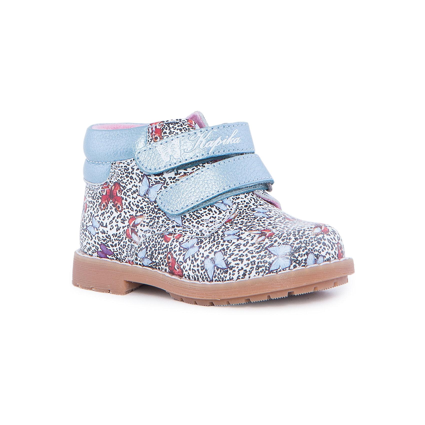 Ботинки для девочки KAPIKAБотинки<br>Ботинки для девочки KAPIKA – стиль, красота и тепло.<br>Красивые модные ботинки из натуральной кожи делают ходьбу комфортной и теплой. Внутри утепленная подкладка из шерсти. Ботинки сделаны с жестким задником и супинатором для правильного формирования ступни. Хорошо прилегают к ноге, закрепляясь двумя липучками. <br><br>Дополнительная информация:<br><br>- материал верха: натуральная кожа<br>- материал подкладки: утепленный текстиль, 80% шерсть<br><br>Ботинки для девочки KAPIKA можно купить в нашем интернет магазине.<br><br>Ширина мм: 262<br>Глубина мм: 176<br>Высота мм: 97<br>Вес г: 427<br>Цвет: белый<br>Возраст от месяцев: 15<br>Возраст до месяцев: 18<br>Пол: Женский<br>Возраст: Детский<br>Размер: 22,24,21,23<br>SKU: 4987980