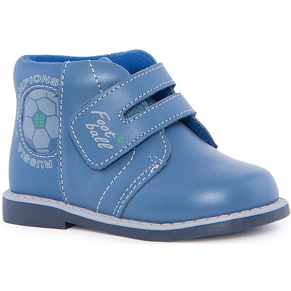 Ботинки для мальчика KAPIKAБотинки<br>Ботинки для мальчика KAPIKA – стиль, красота и тепло.<br>Красивые модные ботинки из натуральной кожи делают ходьбу комфортной и теплой. Ботинки сделаны с жестким задником и супинатором для правильного формирования ступни. Хорошо прилегают к ноге, закрепляясь большой, широкой липучкой. Есть небольшой каблучок.<br><br>Дополнительная информация:<br><br>- материал верха: натуральная кожа/искусственная кожа<br>- цвет: голубой<br><br>Ботинки для мальчика KAPIKA можно купить в нашем интернет магазине.<br>Ширина мм: 262; Глубина мм: 176; Высота мм: 97; Вес г: 427; Цвет: синий; Возраст от месяцев: 15; Возраст до месяцев: 18; Пол: Мужской; Возраст: Детский; Размер: 22,21,24,23; SKU: 4987995;