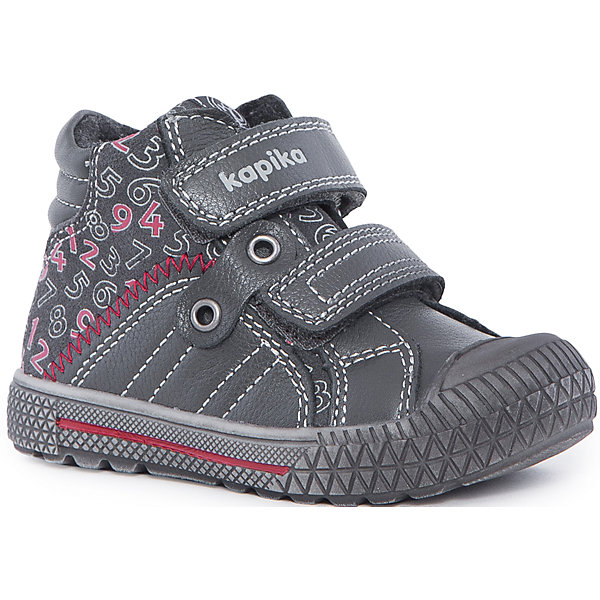 Ботинки для мальчика KAPIKAБотинки<br>Ботинки для мальчика KAPIKA – стиль, красота и тепло.<br>Красивые модные ботинки из натуральной кожи делают ходьбу комфортной и теплой. Ботинки сделаны с жестким задником и супинатором для правильного формирования ступни. Хорошо прилегают к ноге, закрепляясь двумя липучками. Прорезиненный нос и подошва.<br><br>Дополнительная информация:<br><br>- материал верха: натуральная кожа/искусственная кожа<br>- цвет: серо-черные<br><br>Ботинки для мальчика KAPIKA можно купить в нашем интернет магазине.<br>Ширина мм: 262; Глубина мм: 176; Высота мм: 97; Вес г: 427; Цвет: серый; Возраст от месяцев: 12; Возраст до месяцев: 15; Пол: Мужской; Возраст: Детский; Размер: 21,24,23,22; SKU: 4988000;