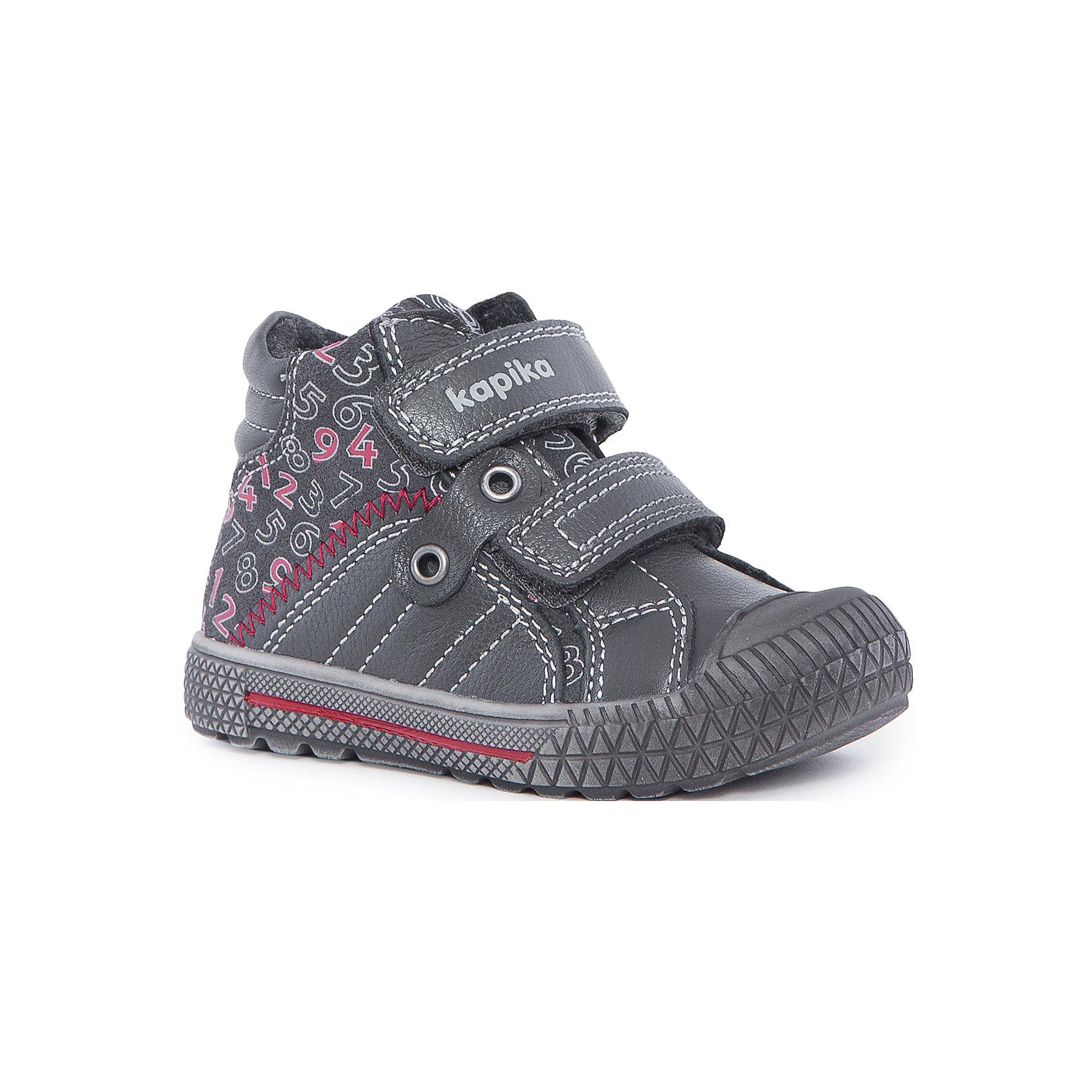 Ботинки для мальчика KAPIKAБотинки<br>Ботинки для мальчика KAPIKA – стиль, красота и тепло.<br>Красивые модные ботинки из натуральной кожи делают ходьбу комфортной и теплой. Ботинки сделаны с жестким задником и супинатором для правильного формирования ступни. Хорошо прилегают к ноге, закрепляясь двумя липучками. Прорезиненный нос и подошва.<br><br>Дополнительная информация:<br><br>- материал верха: натуральная кожа/искусственная кожа<br>- цвет: серо-черные<br><br>Ботинки для мальчика KAPIKA можно купить в нашем интернет магазине.<br><br>Ширина мм: 262<br>Глубина мм: 176<br>Высота мм: 97<br>Вес г: 427<br>Цвет: серый<br>Возраст от месяцев: 12<br>Возраст до месяцев: 15<br>Пол: Мужской<br>Возраст: Детский<br>Размер: 21,24,22,23<br>SKU: 4988000