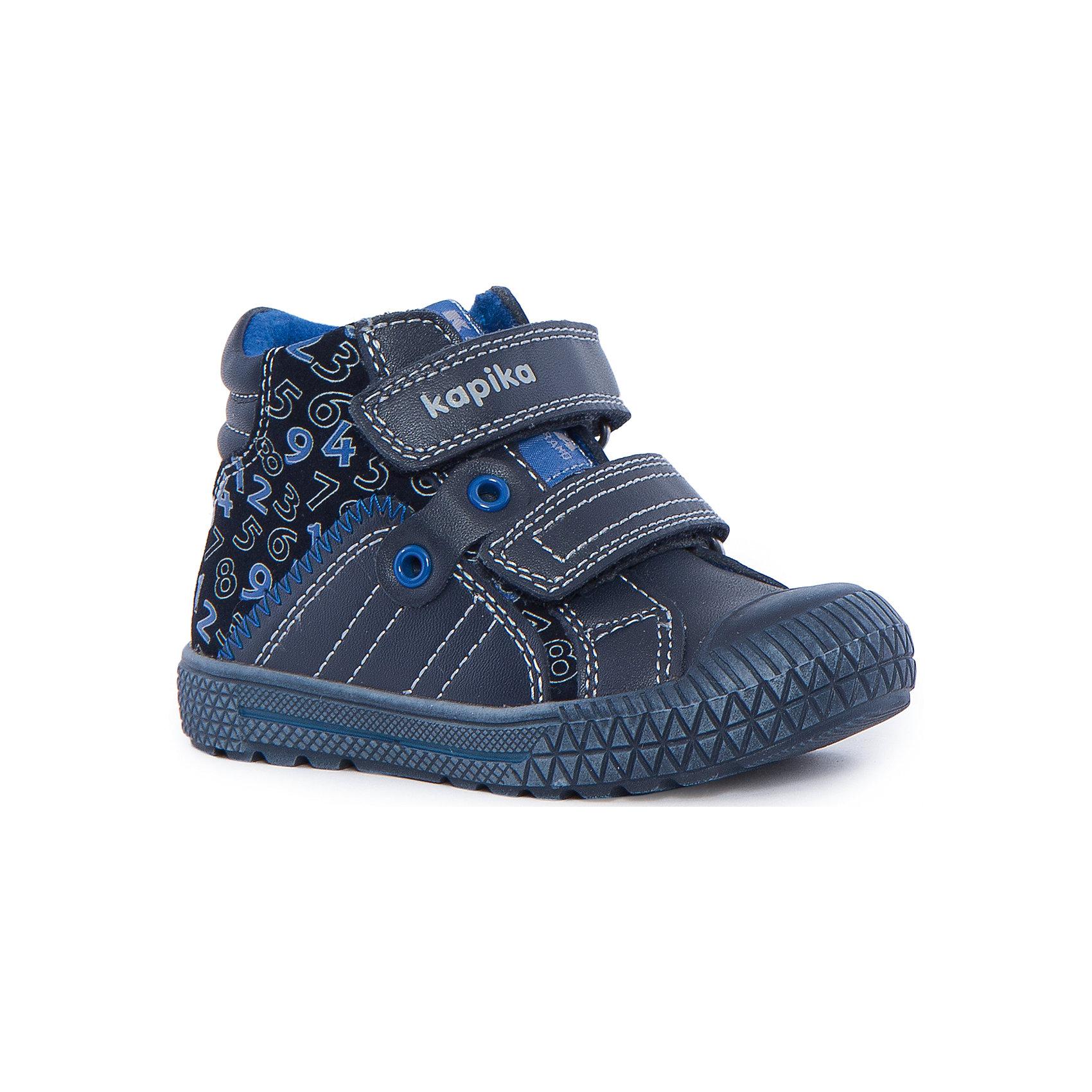 Ботинки для мальчика KAPIKAОбувь для малышей<br>Ботинки для мальчика KAPIKA – стиль, красота и тепло.<br>Красивые модные ботинки из натуральной кожи делают ходьбу комфортной и теплой. Ботинки сделаны с жестким задником и супинатором для правильного формирования ступни. Хорошо прилегают к ноге, закрепляясь двумя липучками. Прорезиненный нос и подошва.<br><br>Дополнительная информация:<br><br>- материал верха: натуральная кожа/искусственная кожа<br>- цвет: синие<br><br>Ботинки для мальчика KAPIKA можно купить в нашем интернет магазине.<br><br>Ширина мм: 262<br>Глубина мм: 176<br>Высота мм: 97<br>Вес г: 427<br>Цвет: синий<br>Возраст от месяцев: 21<br>Возраст до месяцев: 24<br>Пол: Мужской<br>Возраст: Детский<br>Размер: 22,23,24,21<br>SKU: 4988005