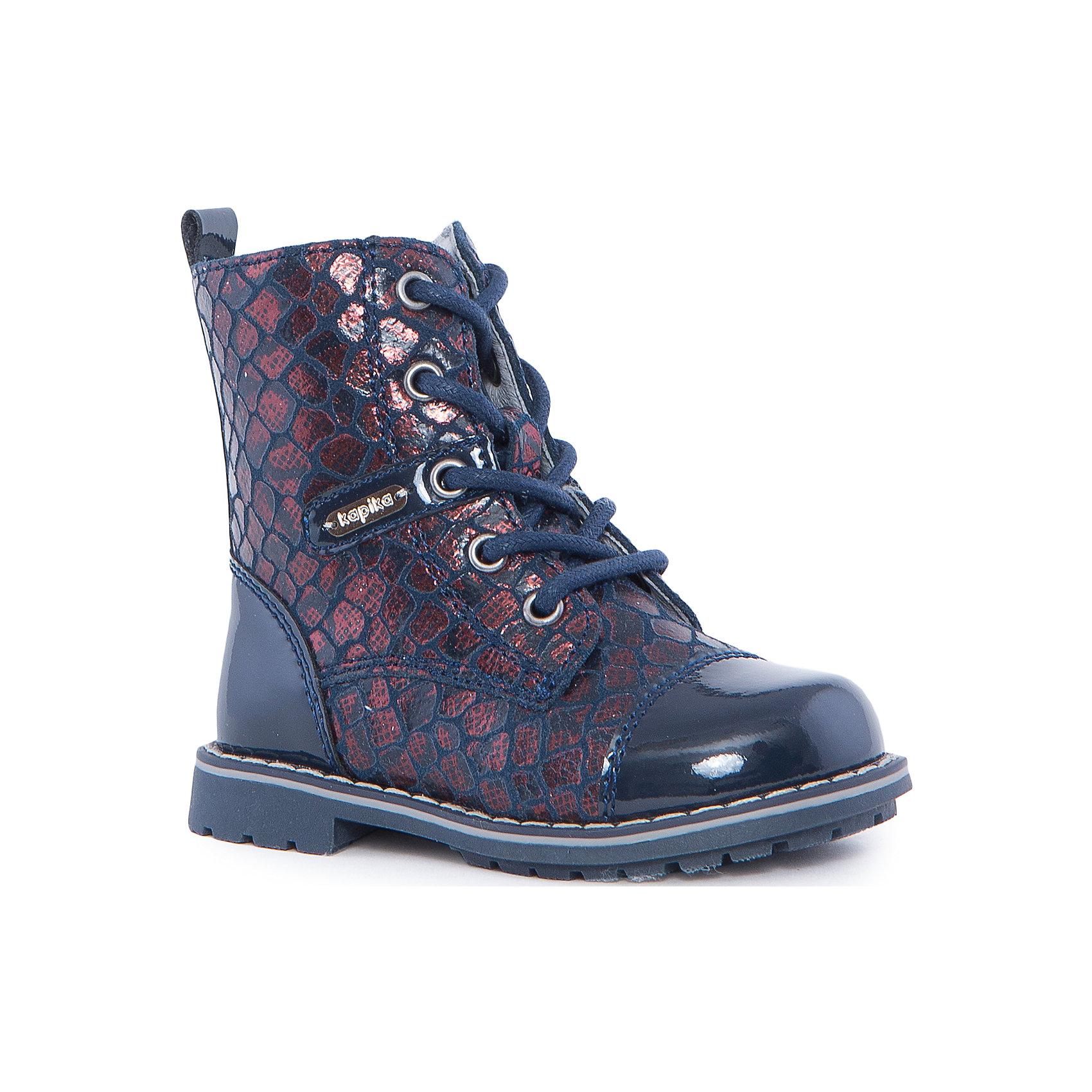 Ботинки для девочки KAPIKAОбувь для малышей<br>Ботинки для девочки KAPIKA – стиль, красота и тепло.<br>Красивые модные ботинки из натуральной кожи делают ходьбу комфортной и теплой. Ботинки сделаны с жестким задником и супинатором для правильного формирования ступни. Хорошо прилегают к ноге, закрепляясь шнуровкой. Застегиваются на молнию сбоку. Сапоги удлиненные с элементами лакировки.<br><br>Дополнительная информация:<br><br>- материал верха: натуральная кожа/искусственная кожа<br>- цвет: коричневый<br><br>Ботинки для девочки KAPIKA можно купить в нашем интернет магазине.<br><br>Ширина мм: 262<br>Глубина мм: 176<br>Высота мм: 97<br>Вес г: 427<br>Цвет: синий<br>Возраст от месяцев: 12<br>Возраст до месяцев: 15<br>Пол: Женский<br>Возраст: Детский<br>Размер: 21,25,22,23,24<br>SKU: 4988010