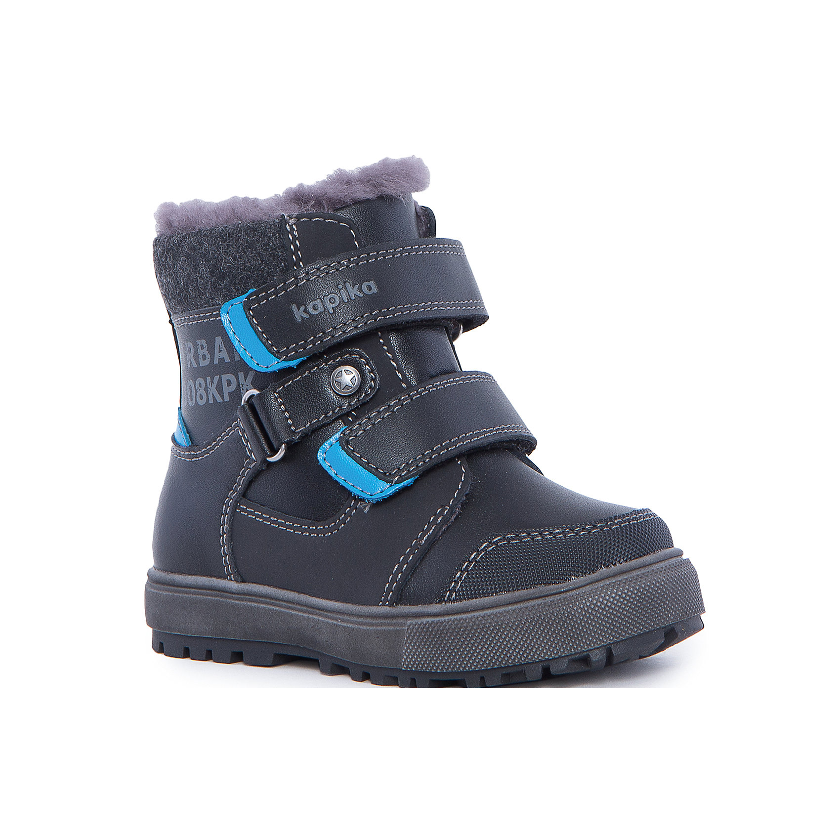 Ботинки для мальчика KAPIKAОбувь для малышей<br>Ботинки для мальчика KAPIKA.<br><br>Температурный режим: до -20 градусов. Степень утепления – средняя. <br><br>* Температурный режим указан приблизительно — необходимо, прежде всего, ориентироваться на ощущения ребенка. <br> <br>Красивые модные сапоги сделаны из натуральной кожи. Внутри также натуральный материал – овчина. Мех очень густой, поэтому сапоги подойдут на очень холодную погоду. Прорезиненная подошва и носок с защитой от стирания и попадания влаги. Застегиваются на молнию и фиксируются по ноге с помощью липучек.<br><br>Дополнительная информация:<br><br>- материал верха: натуральная кожа, натуральная замша<br>- материал подкладки: натуральный мех<br>- цвет: синий<br><br>Ботинки для мальчика KAPIKA можно купить в нашем интернет магазине.<br><br>Ширина мм: 262<br>Глубина мм: 176<br>Высота мм: 97<br>Вес г: 427<br>Цвет: черный<br>Возраст от месяцев: 18<br>Возраст до месяцев: 21<br>Пол: Мужской<br>Возраст: Детский<br>Размер: 23,27,24,25,26<br>SKU: 4988139