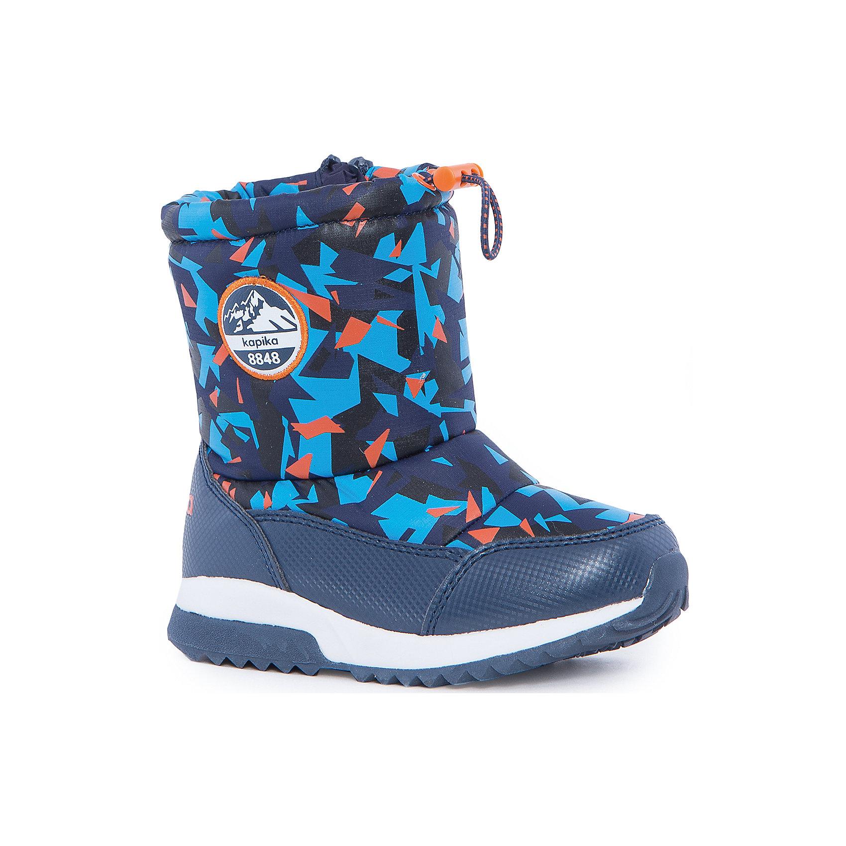 Сапоги для мальчика KAPIKAСноубутсы<br>Полусапоги для мальчика KAPIKA.<br><br>Температурный режим: до -20 градусов. Степень утепления – средняя. <br><br>* Температурный режим указан приблизительно — необходимо, прежде всего, ориентироваться на ощущения ребенка. <br><br>Сапоги-дутики защитят ноги малыша от снега и дождя. Благодаря теплому меху внутри их можно носить даже в очень холодную погоду. Подошва сделана с противоскользящим эффектом. Сверху есть резинка-утяжка, которая не даст влаге проникнуть через верх. <br><br>Дополнительная информация:<br><br>- материал верха: искусственная кожа, текстиль<br>- материал подкладки: 80% шерсть, 20% искусственный мех<br>- цвет: синий<br><br>Полусапоги для мальчика KAPIKA можно купить в нашем интернет магазине.<br><br>Ширина мм: 257<br>Глубина мм: 180<br>Высота мм: 130<br>Вес г: 420<br>Цвет: синий<br>Возраст от месяцев: 24<br>Возраст до месяцев: 24<br>Пол: Мужской<br>Возраст: Детский<br>Размер: 25,30,26,27,28,29<br>SKU: 4988158