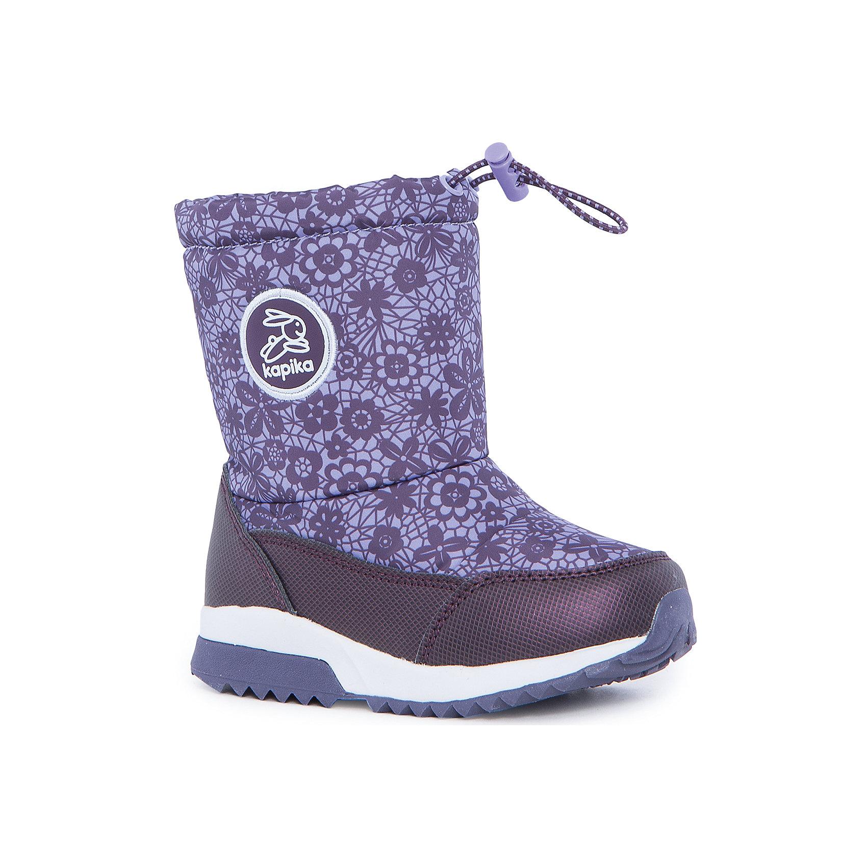 Полусапоги для девочки KAPIKAПолусапоги для девочки KAPIKA.<br><br>Температурный режим: до -20 градусов. Степень утепления – средняя. <br><br>* Температурный режим указан приблизительно — необходимо, прежде всего, ориентироваться на ощущения ребенка. <br><br>Сапоги-дутики защитят ноги малыша от снега и дождя. Благодаря теплому меху внутри их можно носить даже в очень холодную погоду. Подошва сделана с противоскользящим эффектом. Сверху есть резинка-утяжка, которая не даст влаге проникнуть через верх. <br><br>Дополнительная информация:<br><br>- материал верха: искусственная кожа, текстиль<br>- материал подкладки: 80% шерсть, 20% искусственный мех<br>- цвет: сиреневый<br><br>Полусапоги для девочки KAPIKA можно купить в нашем интернет магазине.<br><br>Ширина мм: 257<br>Глубина мм: 180<br>Высота мм: 130<br>Вес г: 420<br>Цвет: фиолетовый<br>Возраст от месяцев: 18<br>Возраст до месяцев: 21<br>Пол: Женский<br>Возраст: Детский<br>Размер: 23,27,24,25,26<br>SKU: 4988178