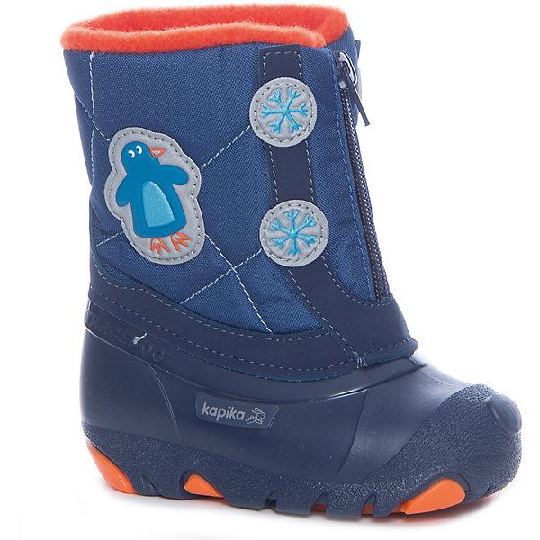 Сноубутсы  KAPIKAОбувь для малышей<br>Сапоги  KAPIKA в ассортименте<br> -Синий<br> -Розовый<br><br>Температурный режим: до -20 градусов. Степень утепления – средняя. <br><br>* Температурный режим указан приблизительно — необходимо, прежде всего, ориентироваться на ощущения ребенка. <br> <br>Сапоги-дутики защитят ноги малыша от снега и дождя. Благодаря теплому меху внутри их можно носить даже в очень холодную погоду. Подошва сделана с противоскользящим эффектом. Сапоги имеют форму цельного валенка, вклеенного в сапоги-галоши. Это дает дополнительную защиту от влаги и холода. Застегиваются на молнию спереди.<br><br>Дополнительная информация:<br><br>- материал верха: искусственная кожа, текстиль<br>- материал подкладки: 80% шерсть, 20% искусственный мех<br><br>Сапоги  KAPIKA можно купить в нашем интернет магазине.<br>Ширина мм: 257; Глубина мм: 180; Высота мм: 130; Вес г: 420; Цвет: разноцветный; Возраст от месяцев: 15; Возраст до месяцев: 18; Пол: Унисекс; Возраст: Детский; Размер: 22,25,24,23,21,26; SKU: 4988184;
