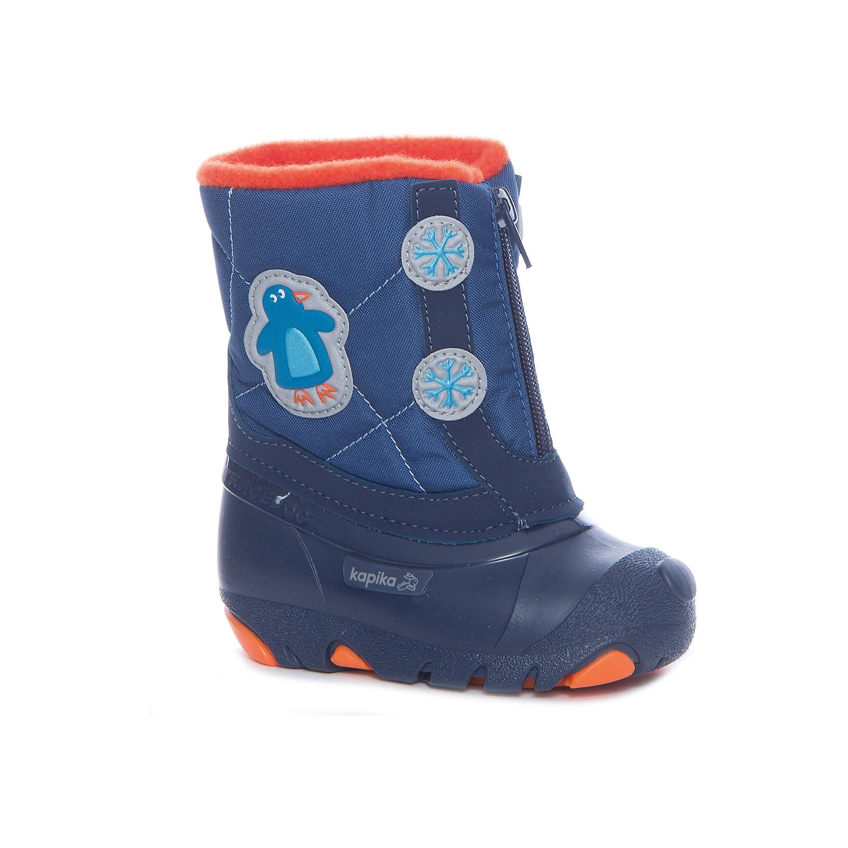 Сноубутсы  KAPIKAОбувь для мальчиков<br>Сапоги  KAPIKA в ассортименте<br> -Синий<br> -Розовый<br><br>Температурный режим: до -20 градусов. Степень утепления – средняя. <br><br>* Температурный режим указан приблизительно — необходимо, прежде всего, ориентироваться на ощущения ребенка. <br> <br>Сапоги-дутики защитят ноги малыша от снега и дождя. Благодаря теплому меху внутри их можно носить даже в очень холодную погоду. Подошва сделана с противоскользящим эффектом. Сапоги имеют форму цельного валенка, вклеенного в сапоги-галоши. Это дает дополнительную защиту от влаги и холода. Застегиваются на молнию спереди.<br><br>Дополнительная информация:<br><br>- материал верха: искусственная кожа, текстиль<br>- материал подкладки: 80% шерсть, 20% искусственный мех<br><br>Сапоги  KAPIKA можно купить в нашем интернет магазине.<br><br>Ширина мм: 257<br>Глубина мм: 180<br>Высота мм: 130<br>Вес г: 420<br>Цвет: разноцветный<br>Возраст от месяцев: 12<br>Возраст до месяцев: 15<br>Пол: Унисекс<br>Возраст: Детский<br>Размер: 21,26,22,23,24,25<br>SKU: 4988184